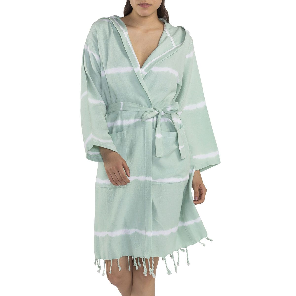 Bathrobe Tie Dye with hood - Mint Base