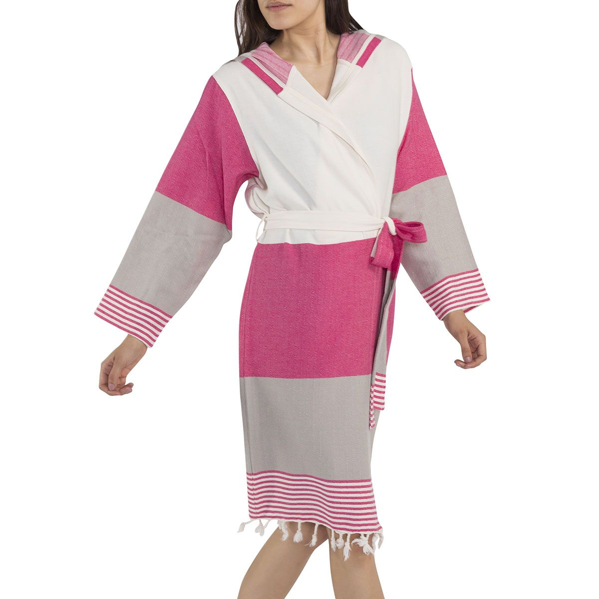 Bathrobe Twin Sultan with hood - Fuchsia / Taupe