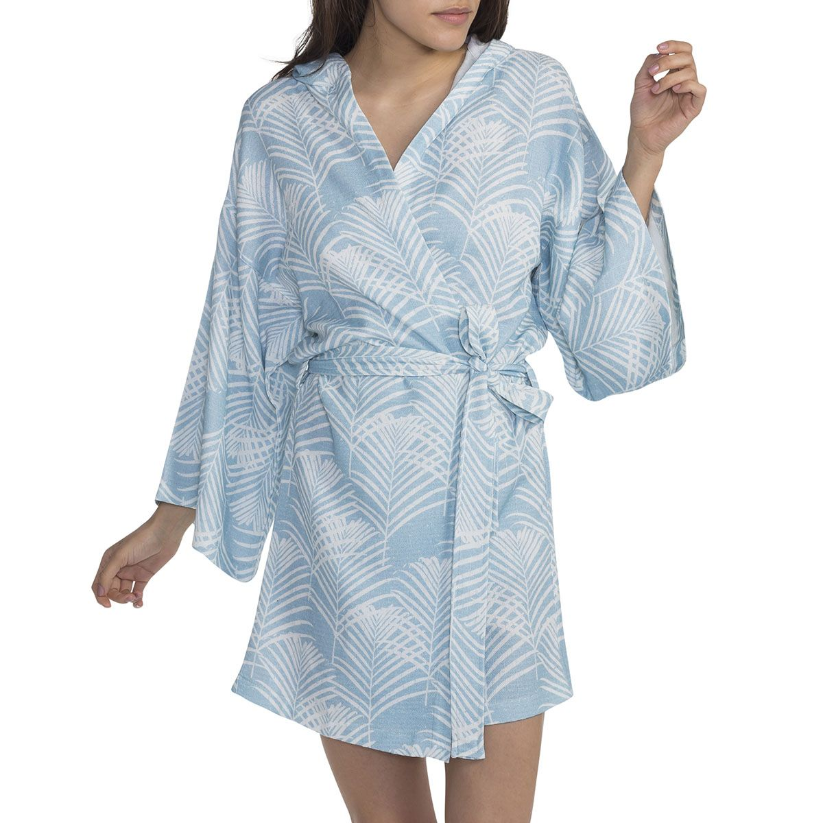 Bathrobe - Blue Palm Tree Printed