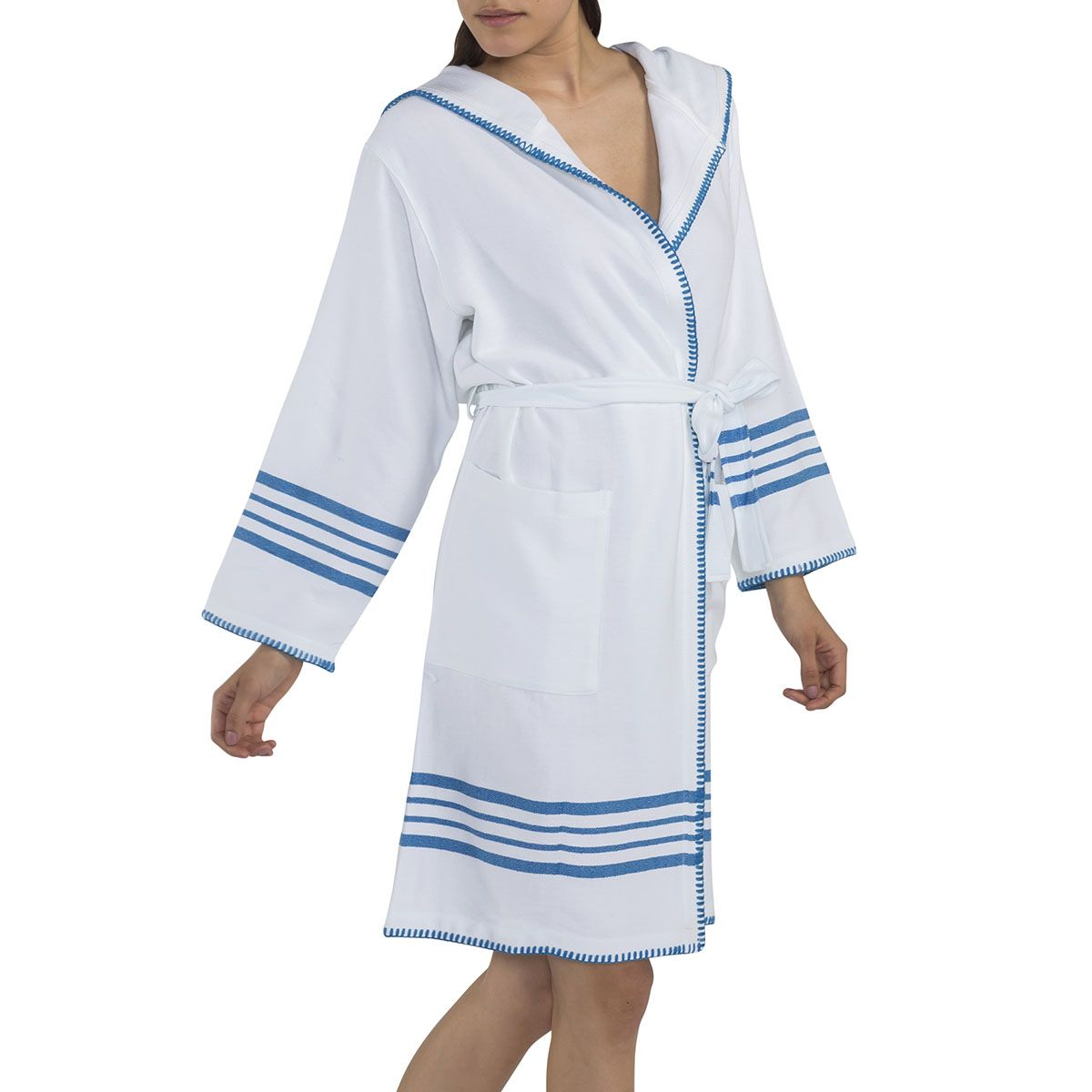 Bathrobe White Sultan with hood & stitches - White / Turquoise