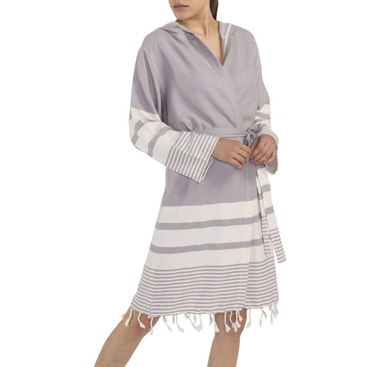 Bathrobe Tabiat with hood - Light Grey