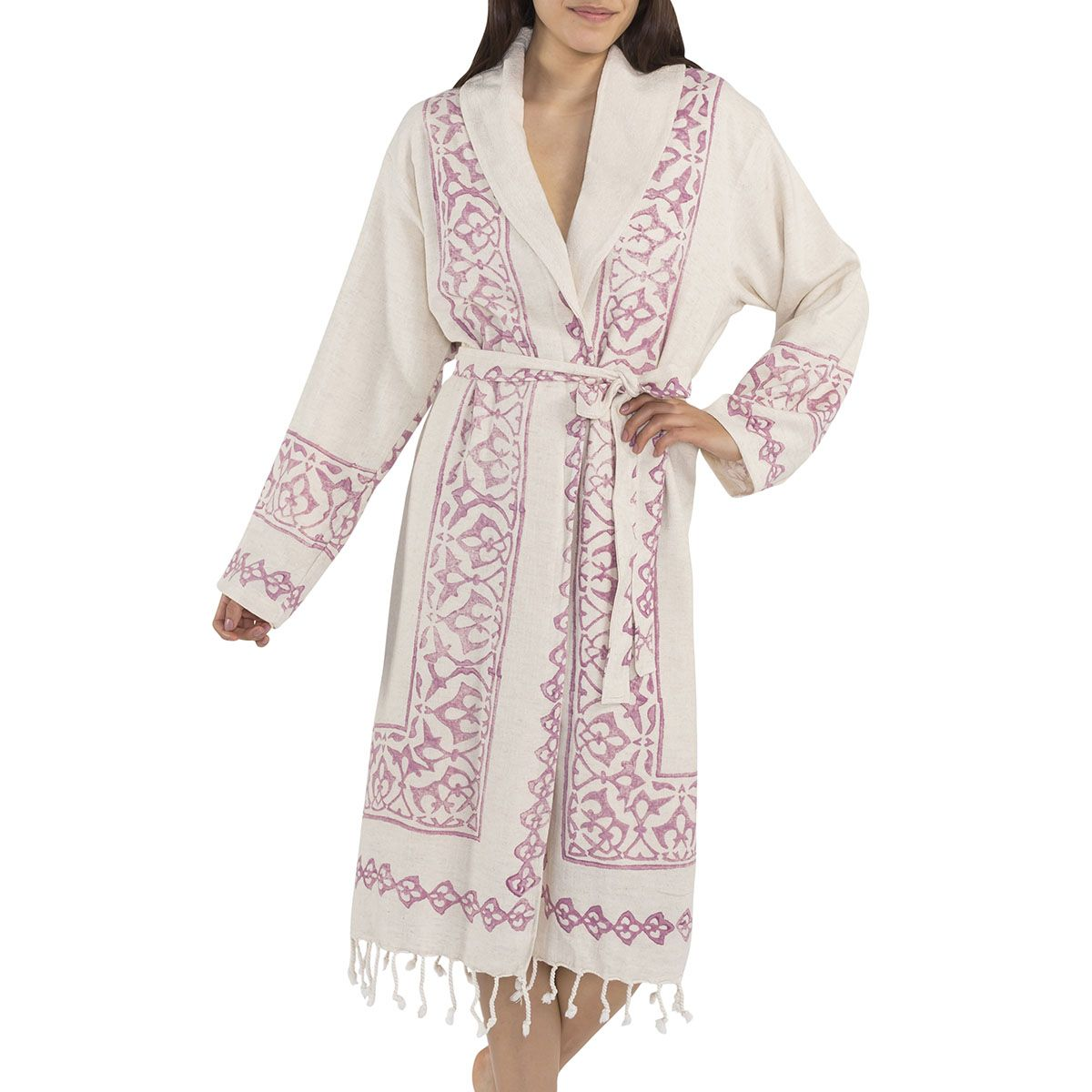 Bathrobe Hand Printed with towel lining 03 - Dusty Rose Print