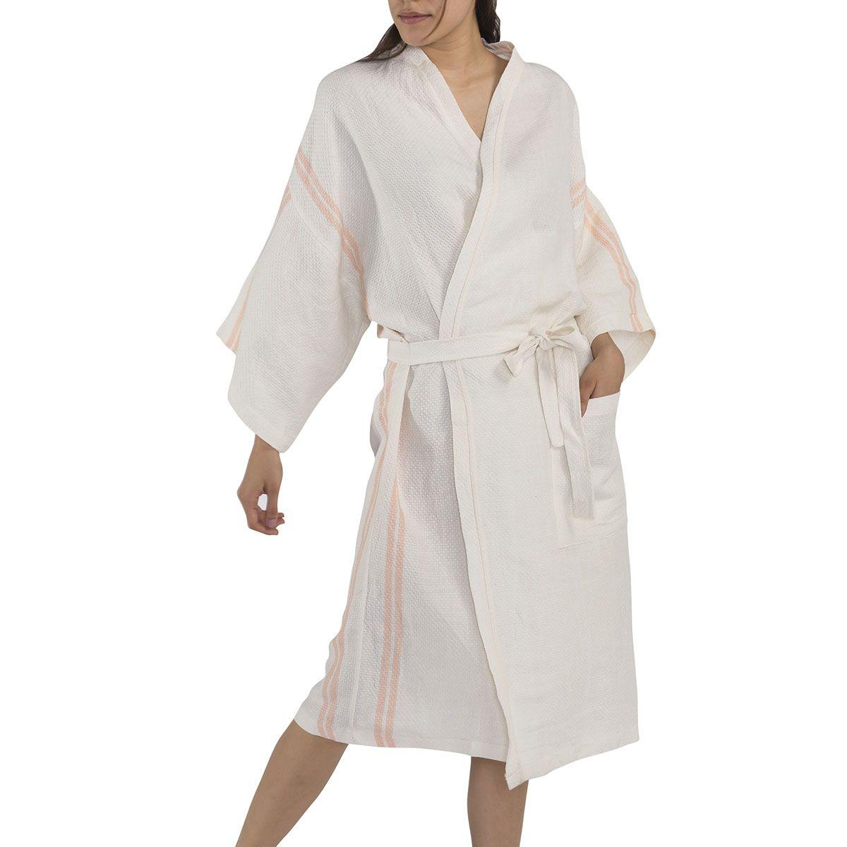 Bathrobe - Dressing Gown Honeycombed - Ecru / Melon Stripes