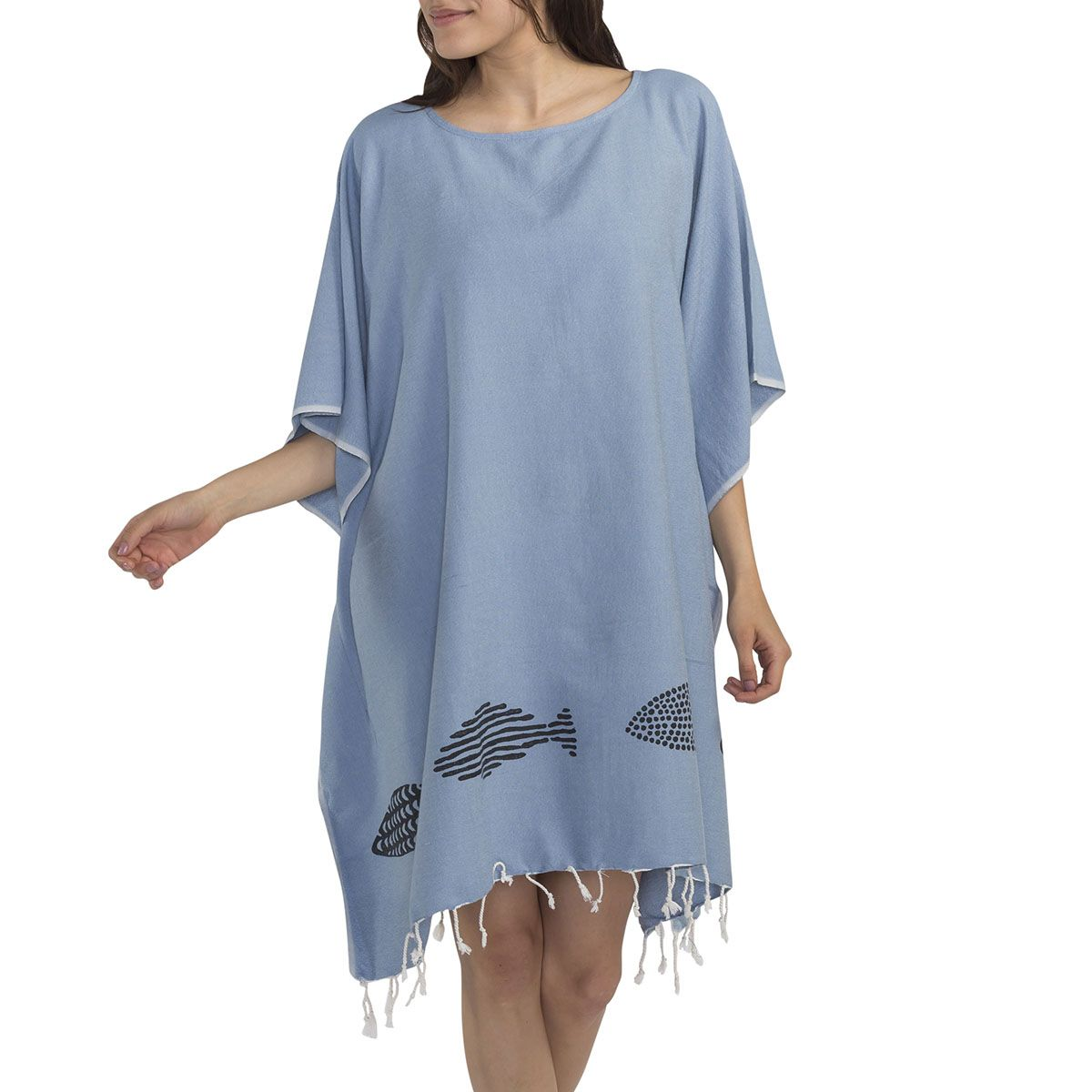 Tunic / Black Fish - Hand Printed - Blue