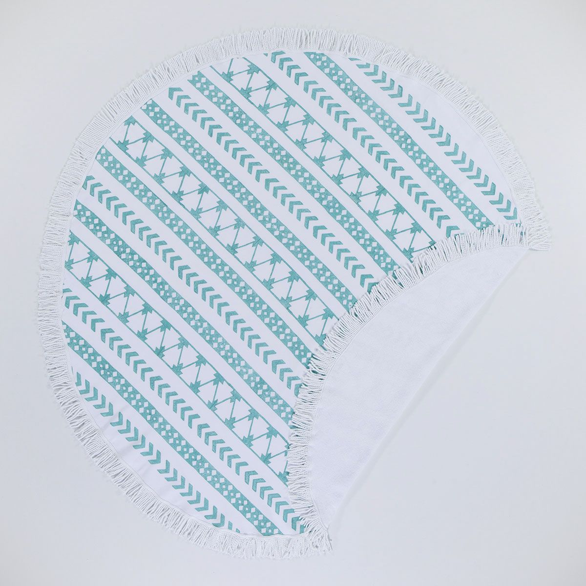 Round Towel / Cloth - White / Hand Printed 06 - Mint