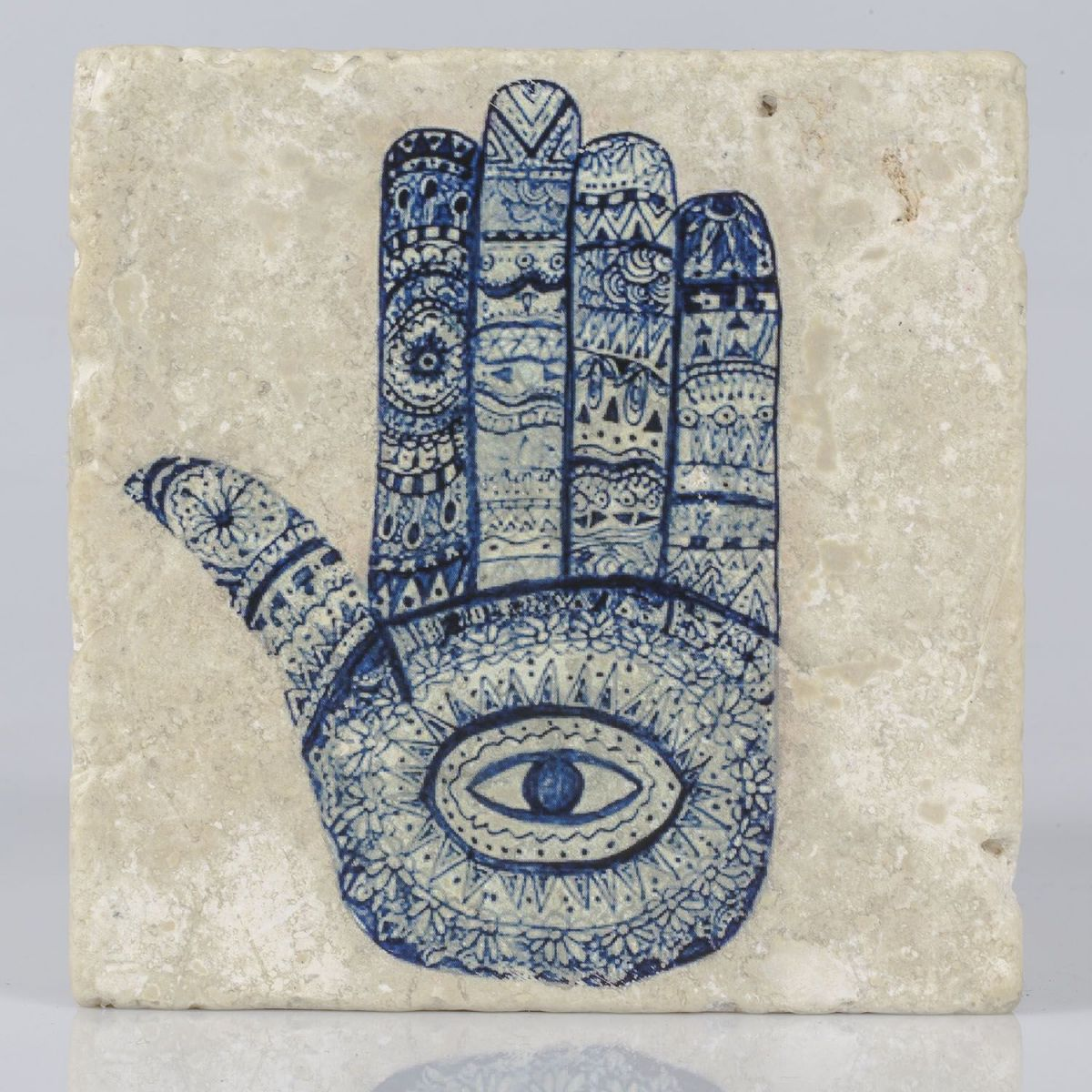 Coaster Travertine - Hand Of Fatima / Navy - (10x10)