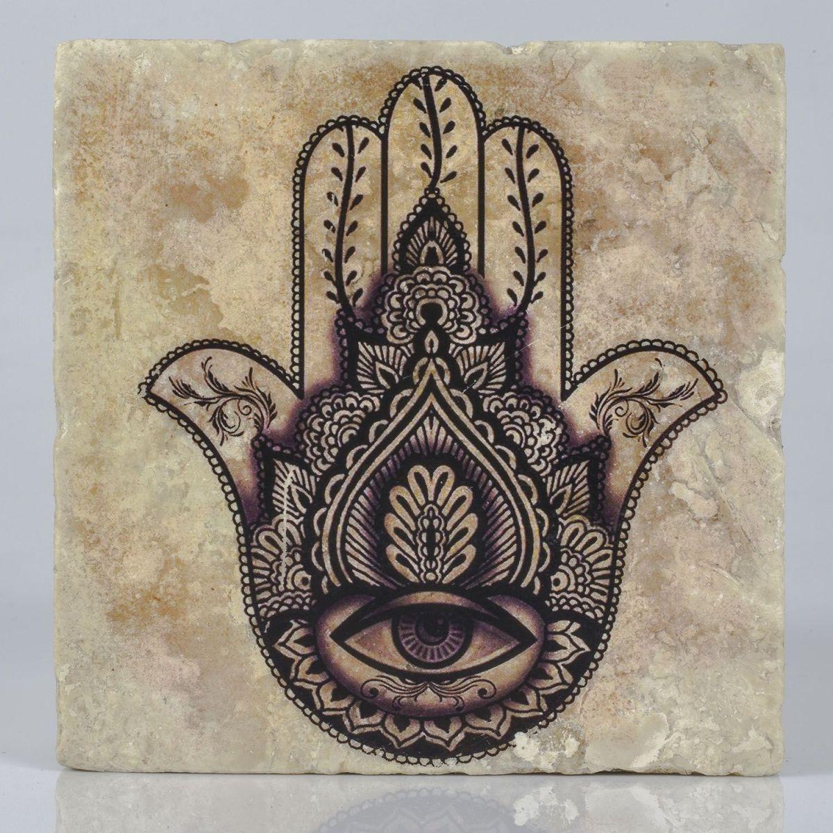 Coaster Travertine - Hand Of Fatima / Black 5 - (10x10)