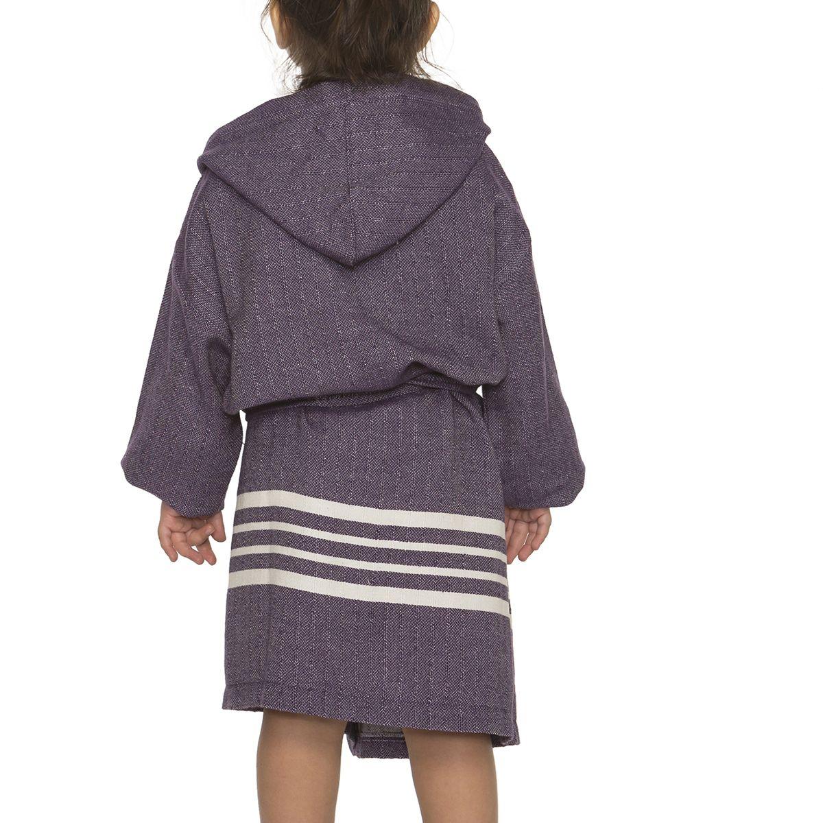 Bathrobe Kiddo with hood - Dark Purple
