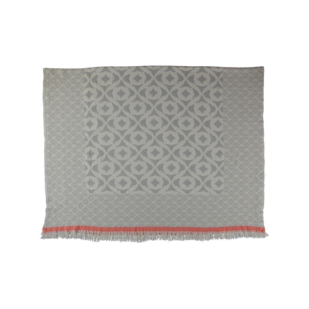 Throw May - Silver Grey / Coral