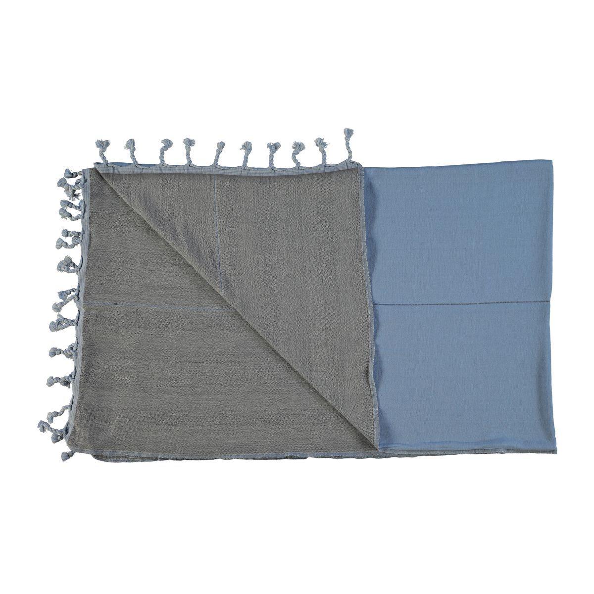 Peshtemal Double Side / Blue - Dark Grey