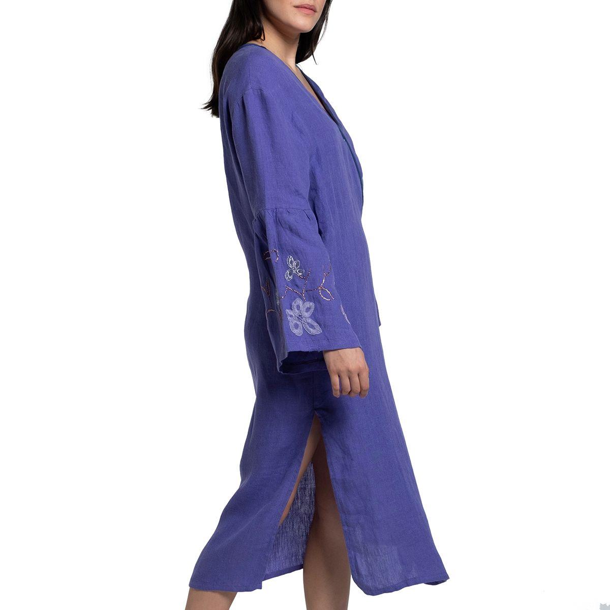 Dressing Gown / Indoor - Outdoor - Menekshe / Purple - Hand beaded