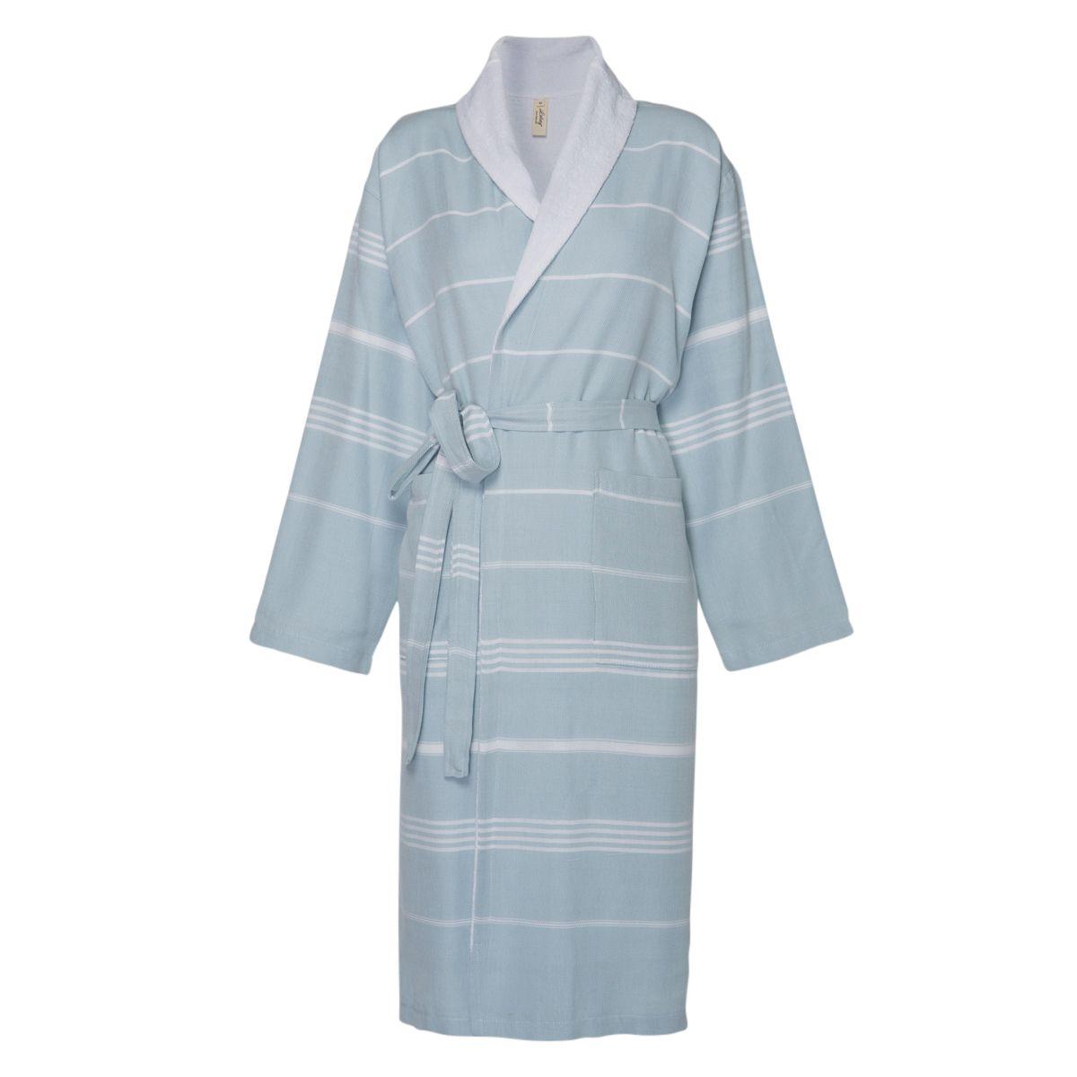 Bathrobe Leyla / With Towel Lining - Light Blue