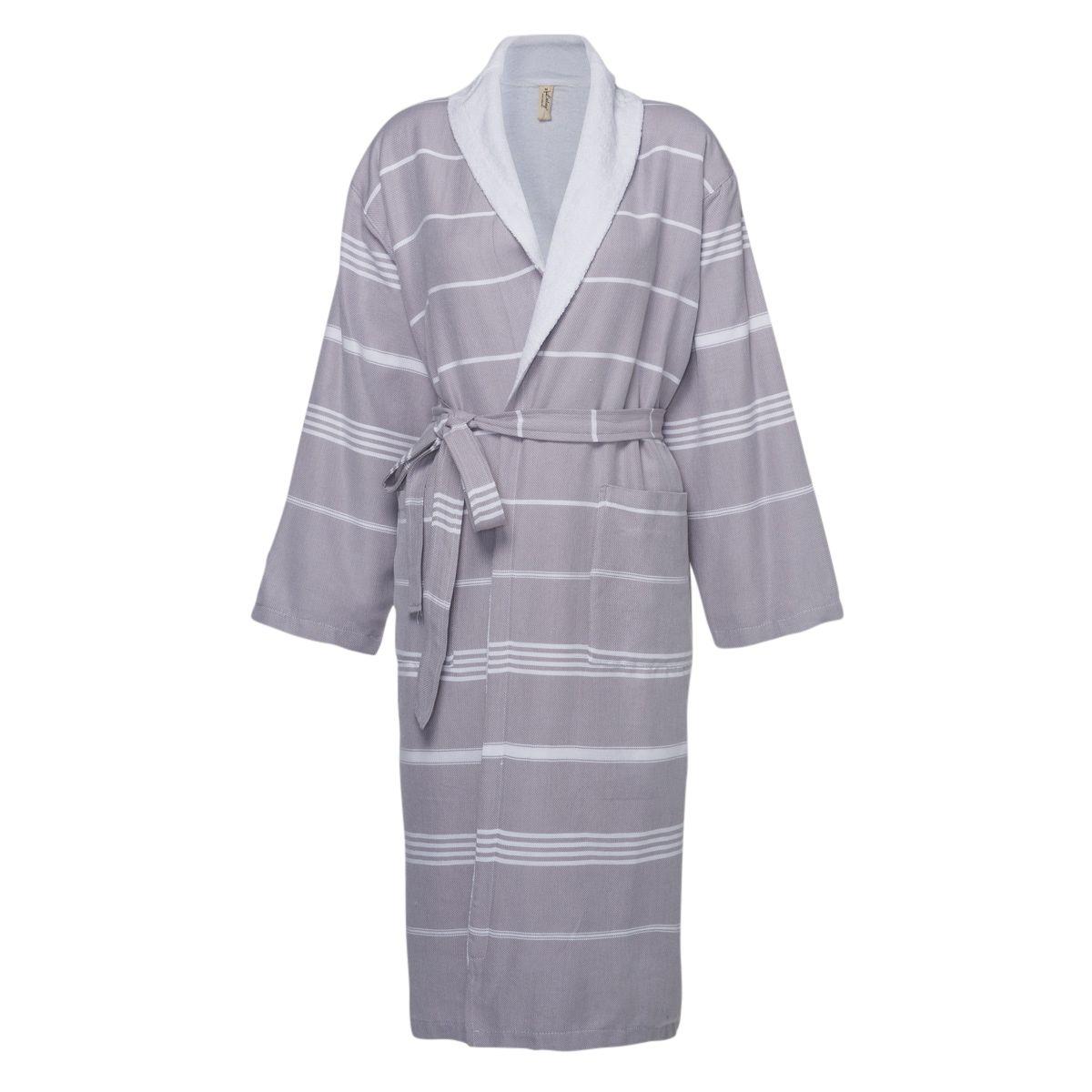 Bathrobe Leyla / With Towel Lining - Dark Grey