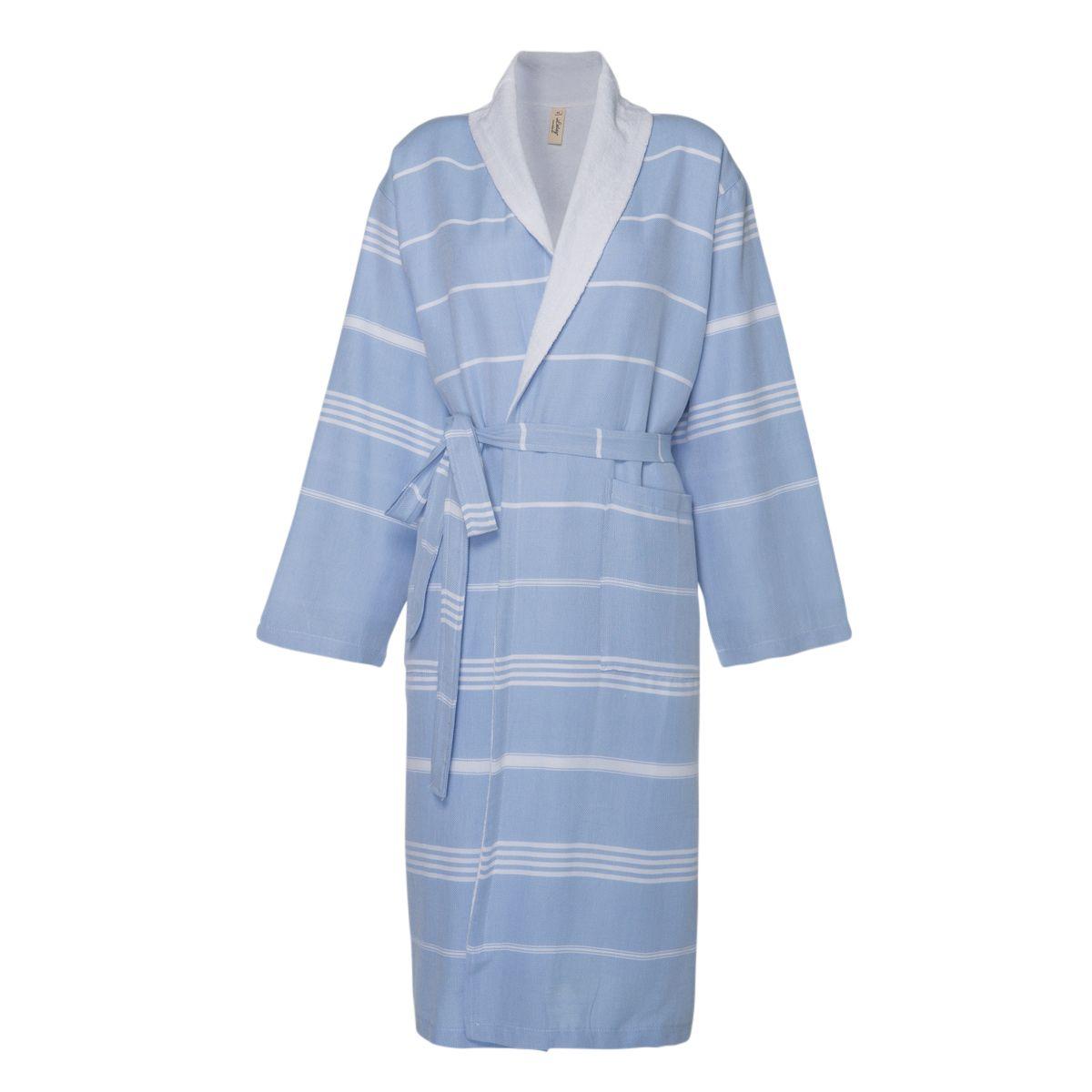 Bathrobe Leyla / With Towel Lining - Blue