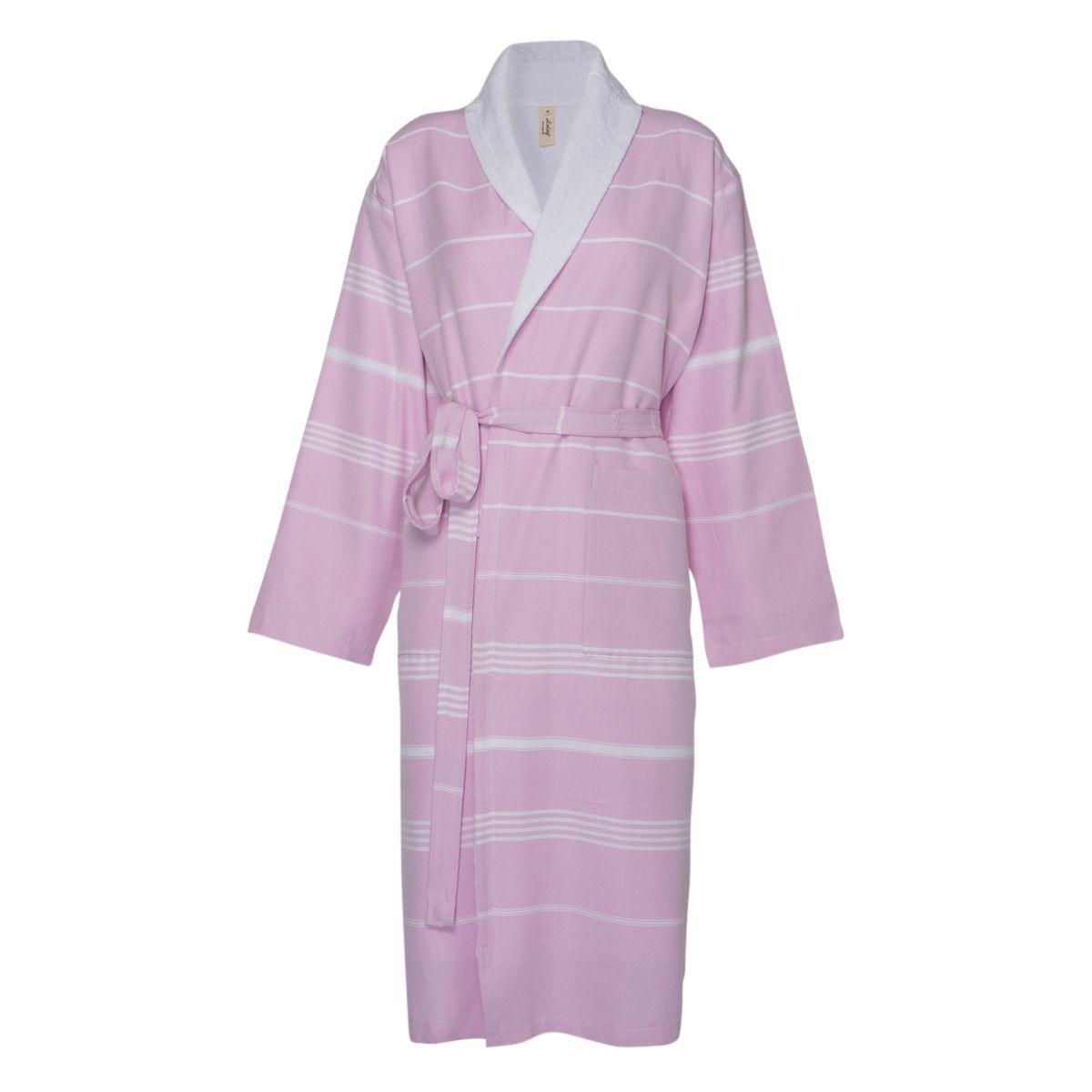 Bathrobe Leyla / With Towel Lining - Pink