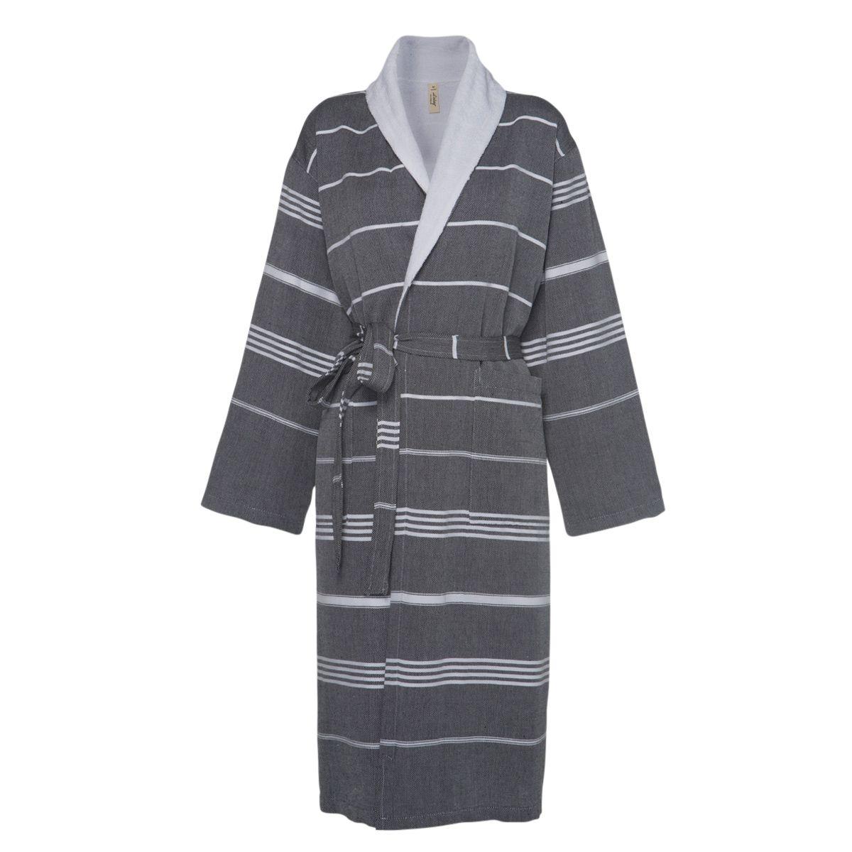 Bathrobe Leyla / With Towel Lining - Black