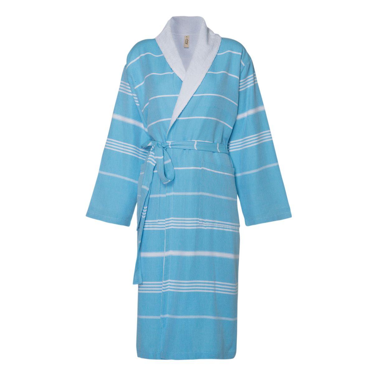 Bathrobe Leyla / With Towel Lining - Turquoise