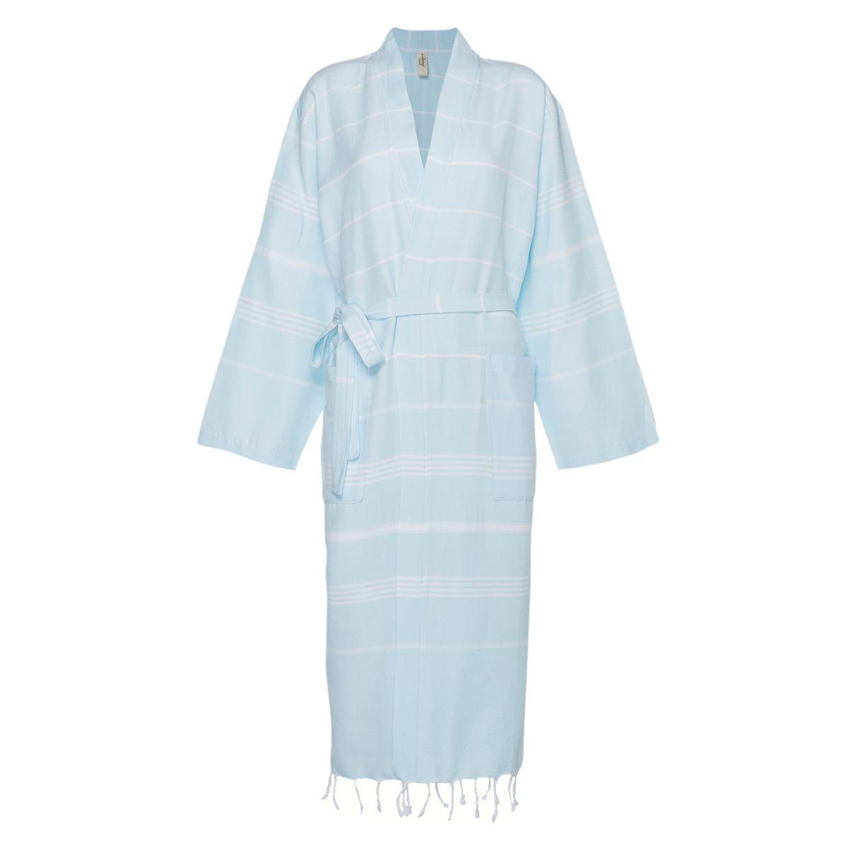 Bathrobe Leyla / Kimono Collar - Ice Blue