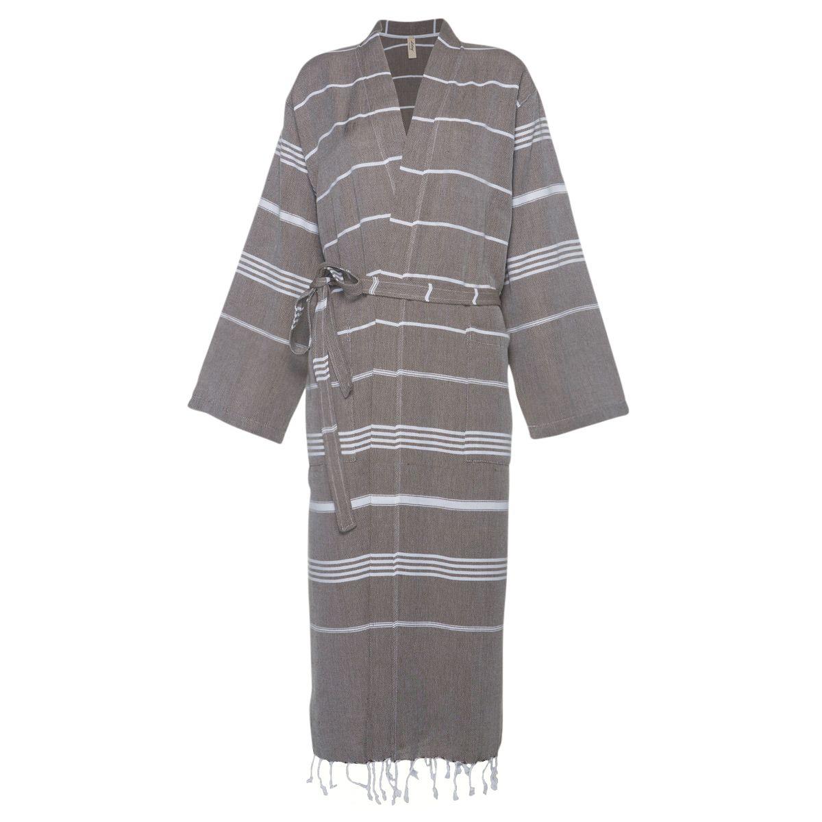 Bathrobe Leyla / Kimono Collar - Khaki