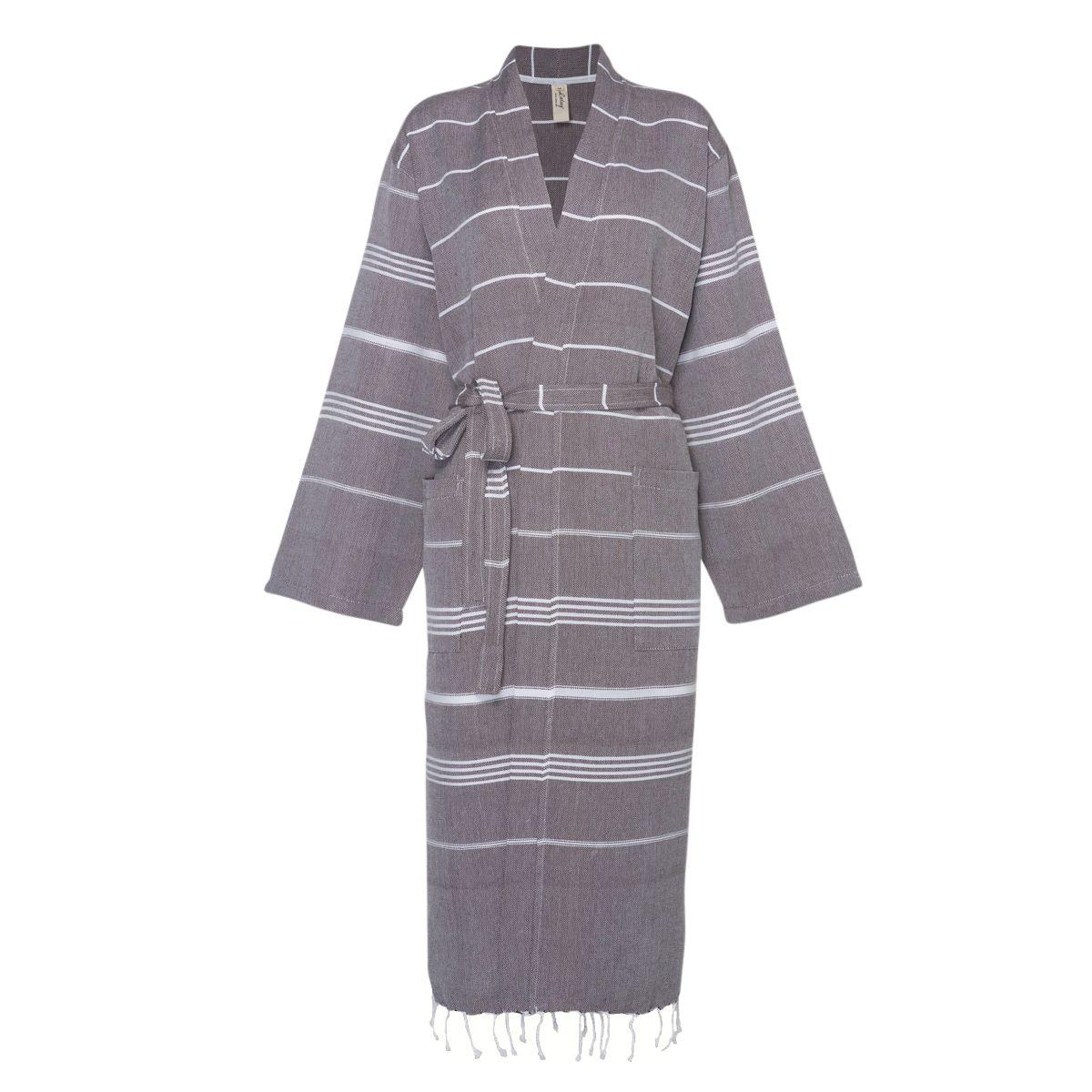 Bathrobe Leyla / Kimono Collar - Brown