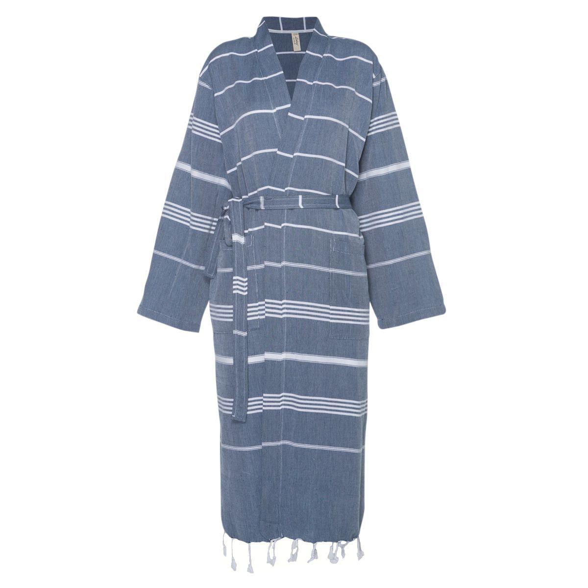 Bathrobe Leyla / Kimono Collar - Navy