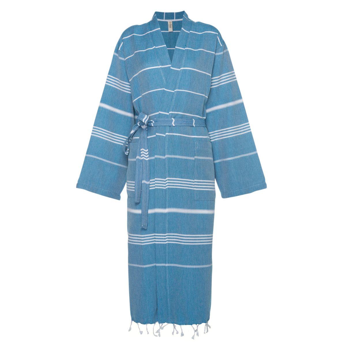 Bornoz Leyla / Kimono Yaka - Petrol Mavi