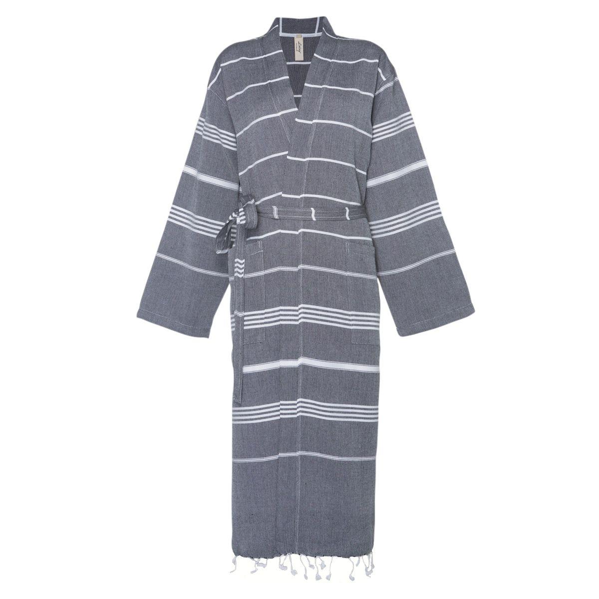 Bathrobe Leyla / Kimono Collar - Black
