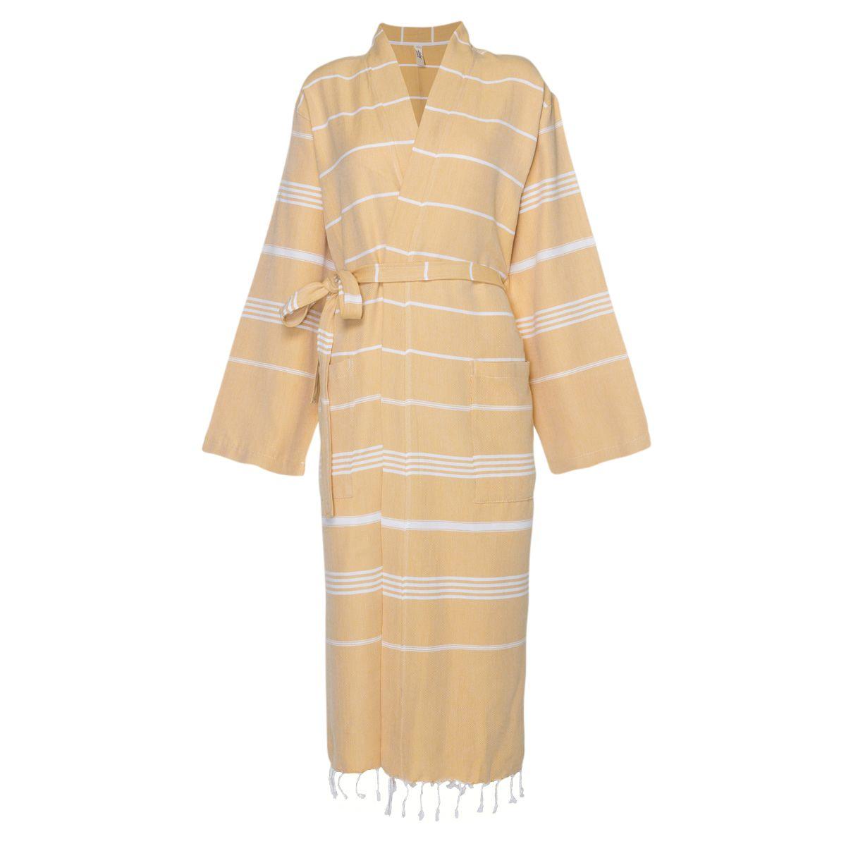Bathrobe Leyla / Kimono Collar - Yellow