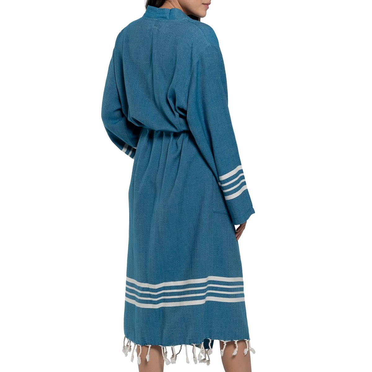 Bathrobe Sultan kimono collar - Petrol Blue