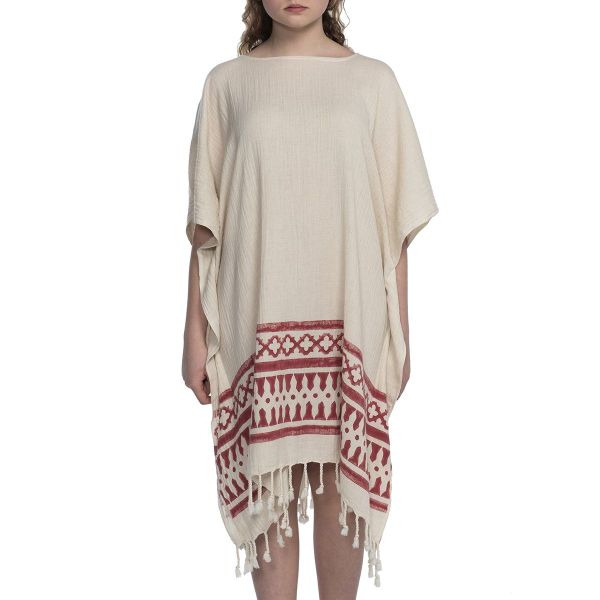 Tunic Hand Printed 14 / Bordeaux
