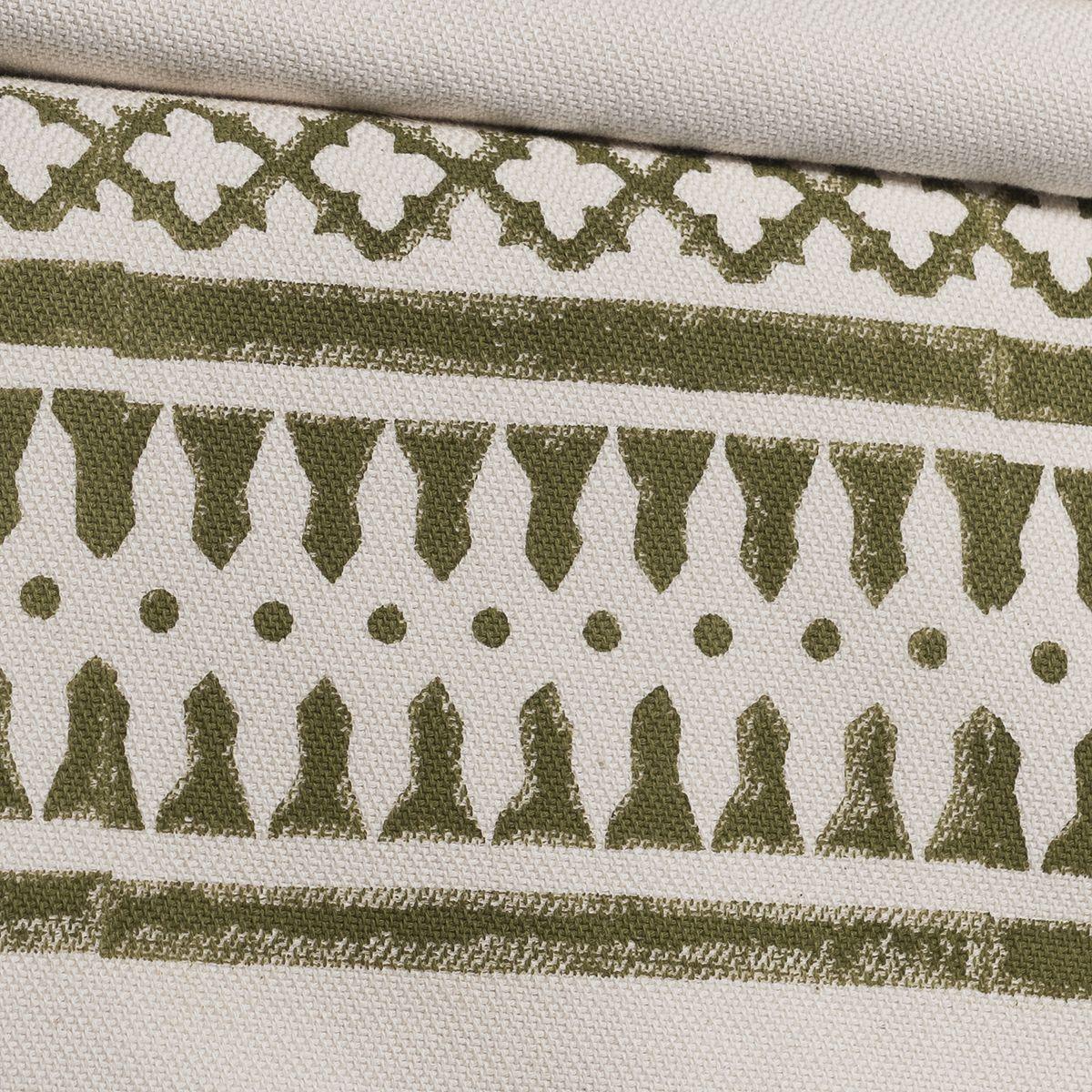 Throw / 14 Hand Printed - Khaki with tassel