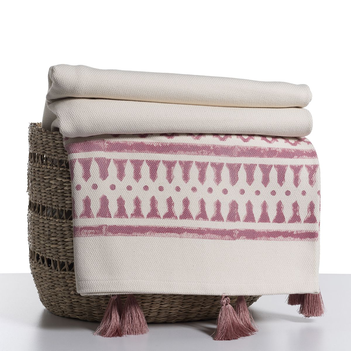 Throw / 14 Hand Printed - Dusty Rose with tassel