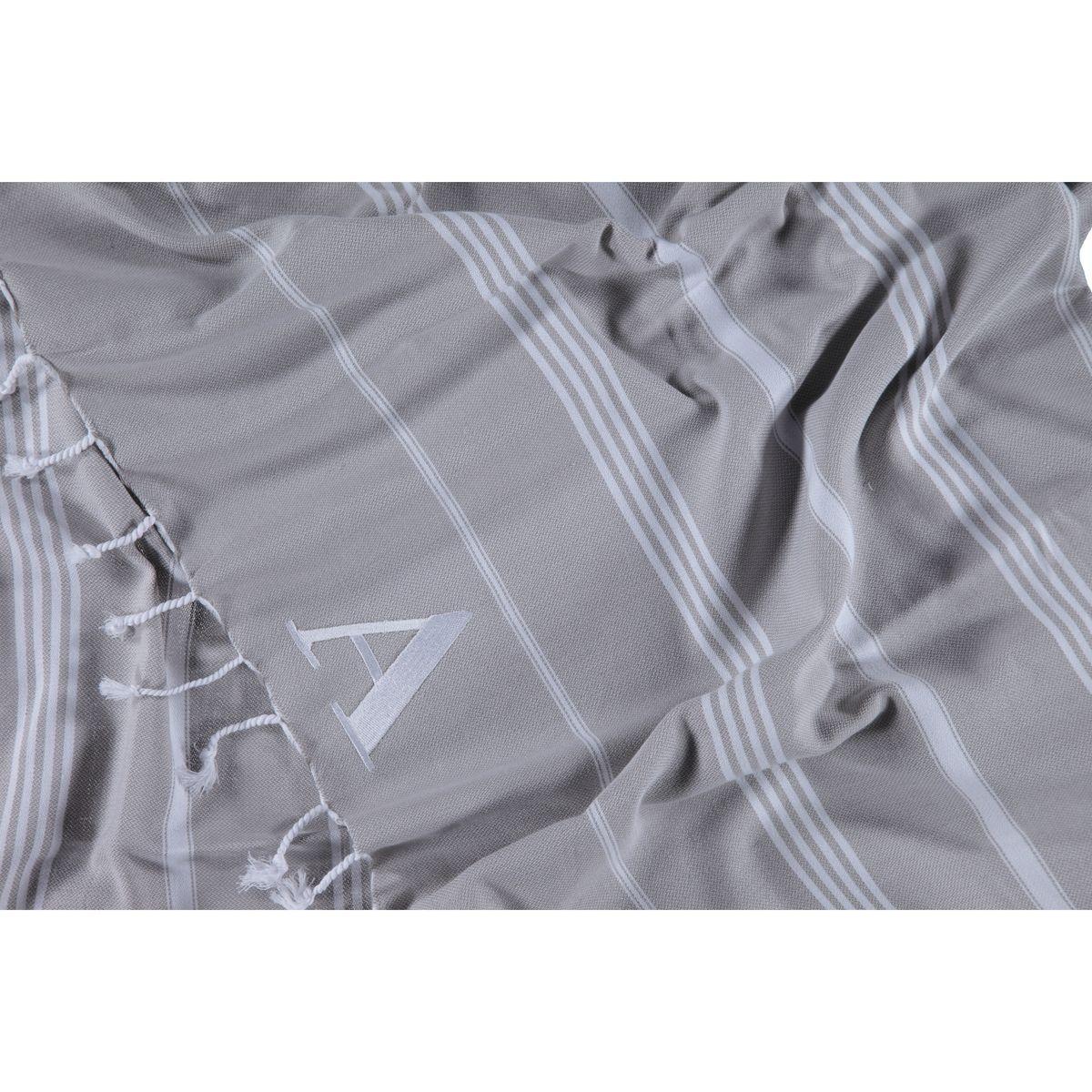 Peshtemal Monogrammed - Leyla Model - Dark Grey
