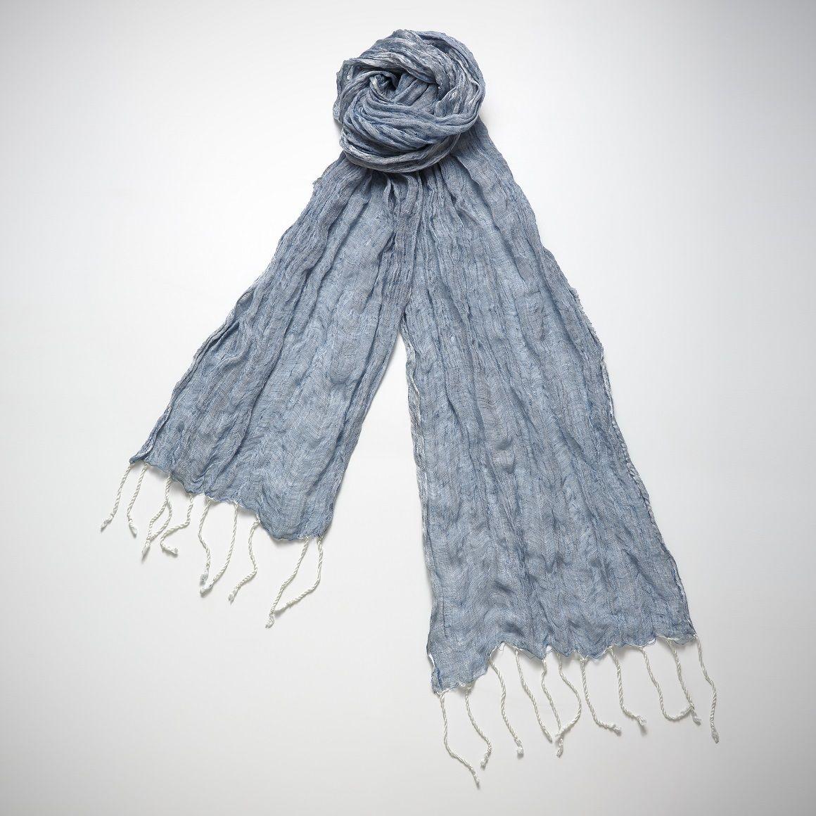 Burgu Scarf Linen & Silk - Blue