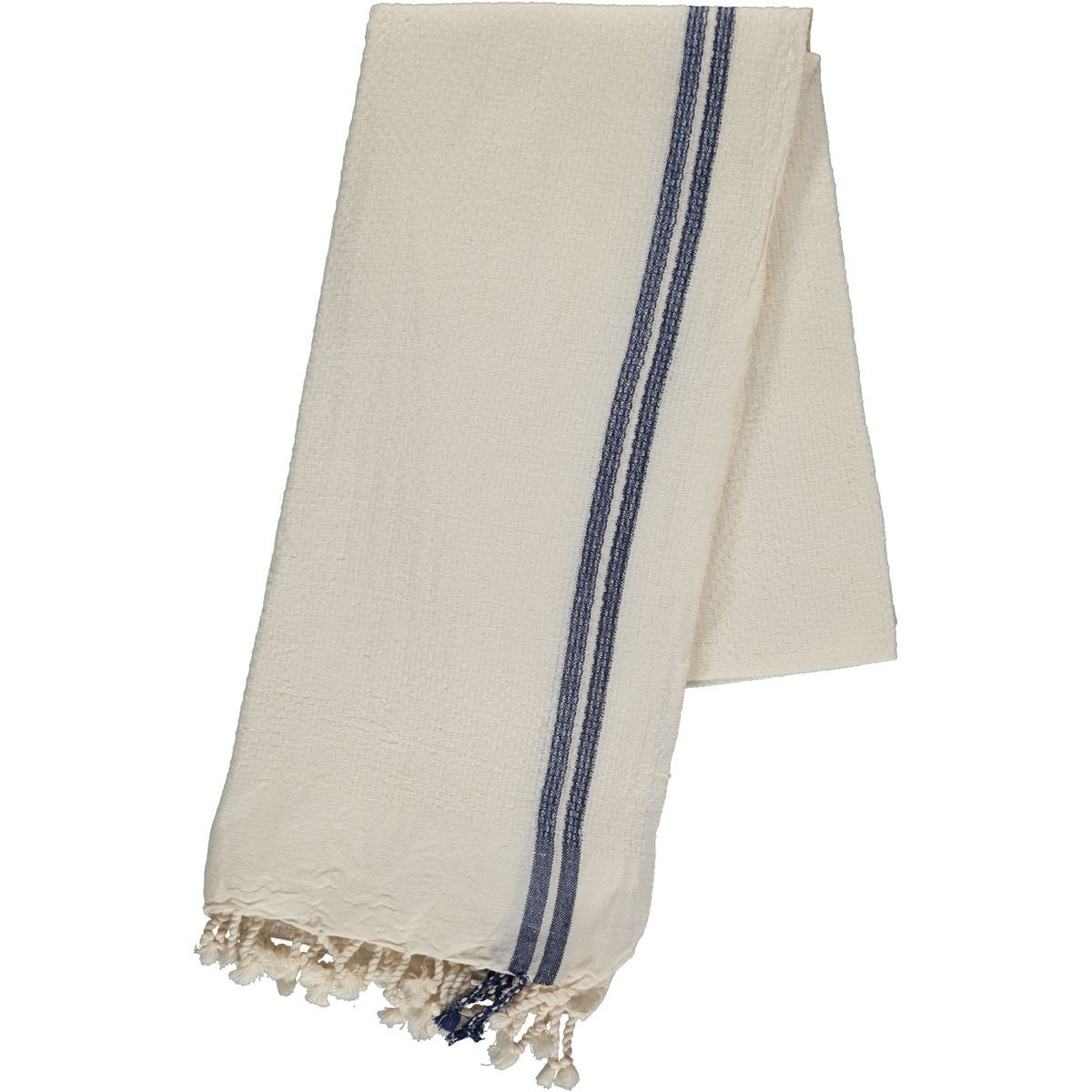 Peshtemal Petek / Ecru - Navy Stripes
