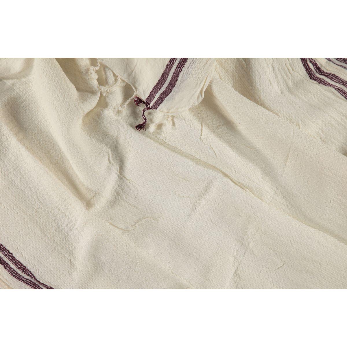 Peshtemal Petek / Ecru - Bordeaux Stripes