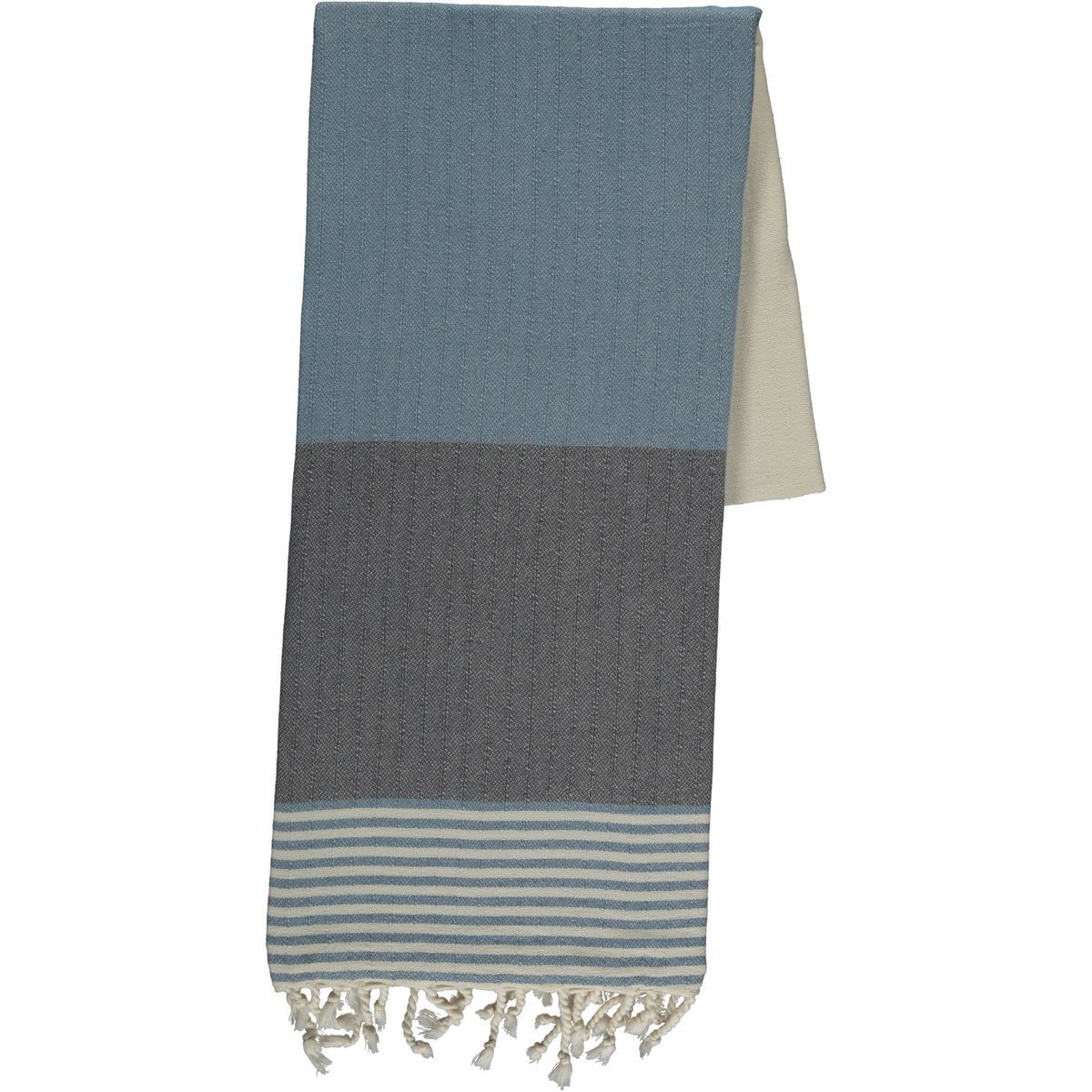 Peshtemal Twin Sultan - Dark Grey / Air Blue