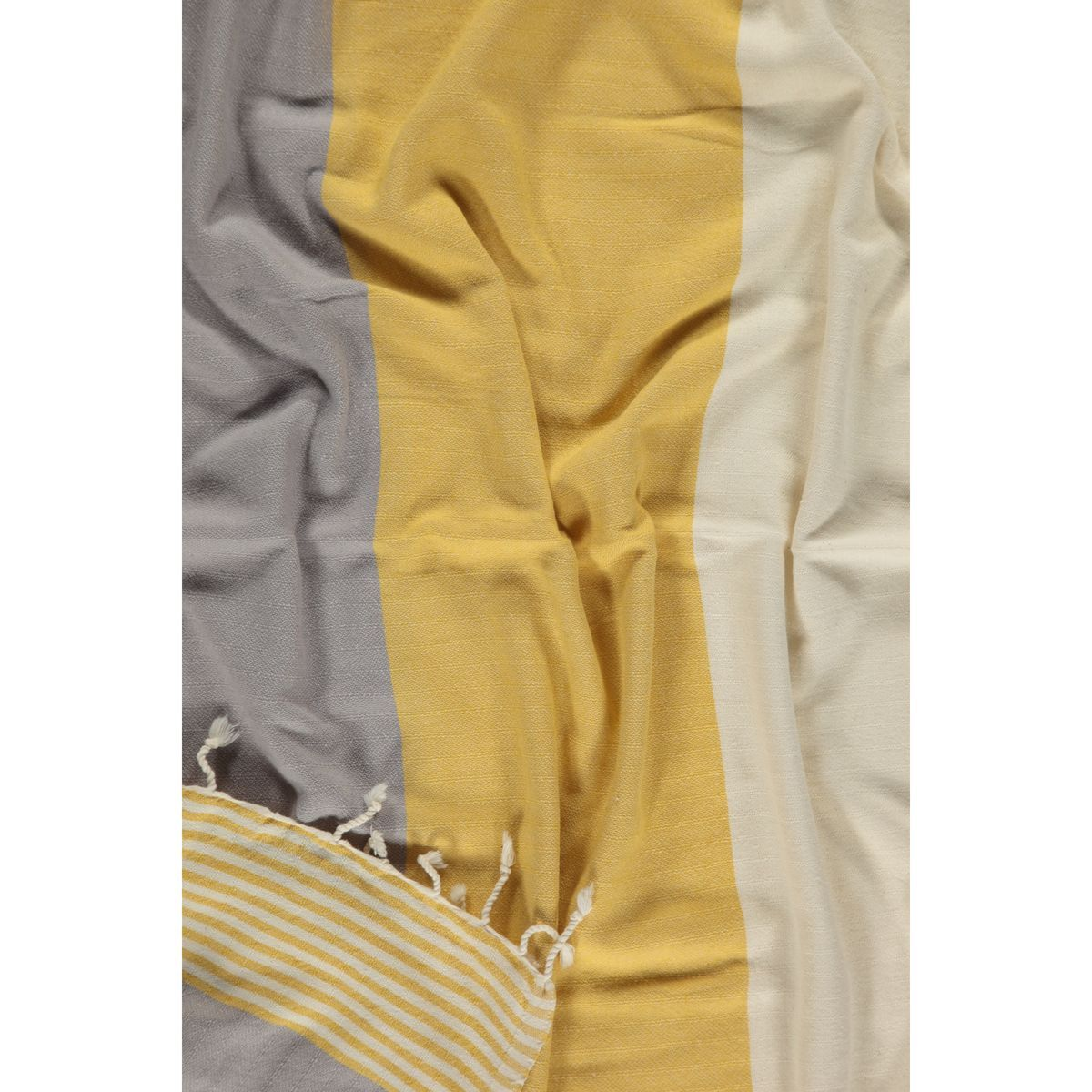Peshtemal Twin Sultan - Yellow / Light Grey