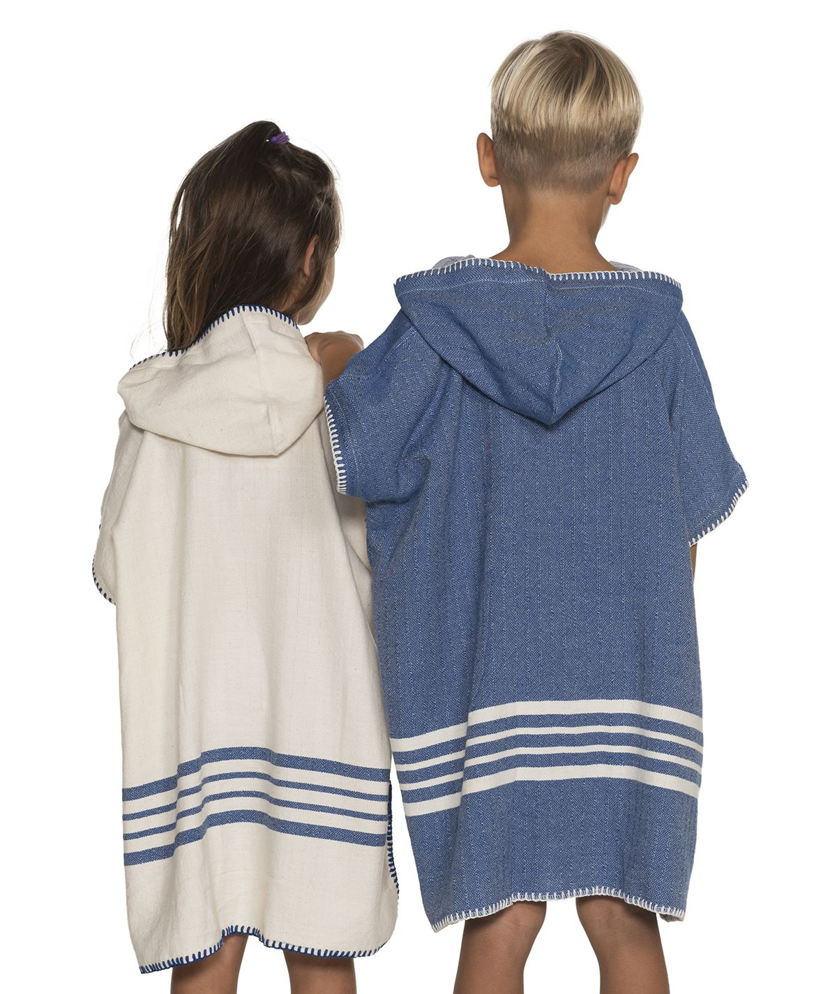 Poncho Kiddo / Sultan - Natural / Royal Blue