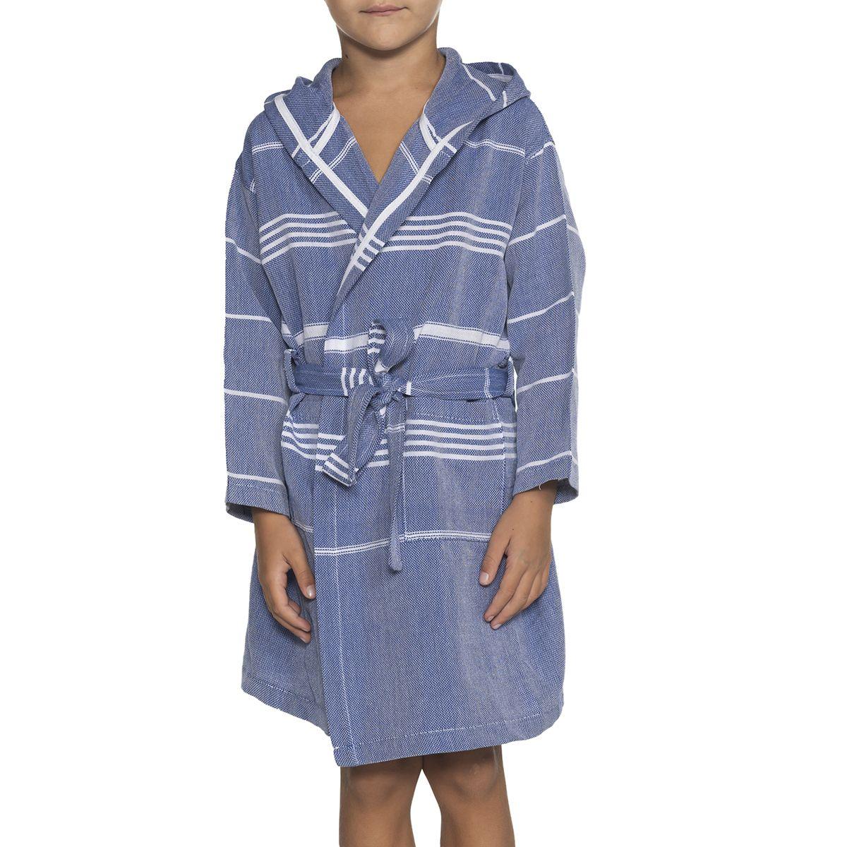 Bathrobe Kiddo Leyla with hood - Royal Blue