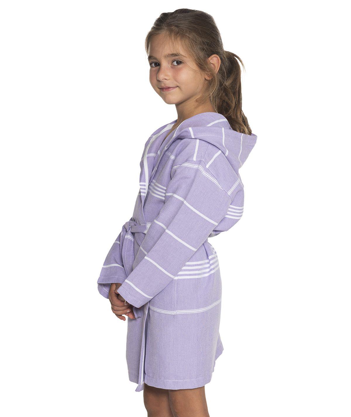 Bathrobe Kiddo Leyla with hood - Dark Lilac