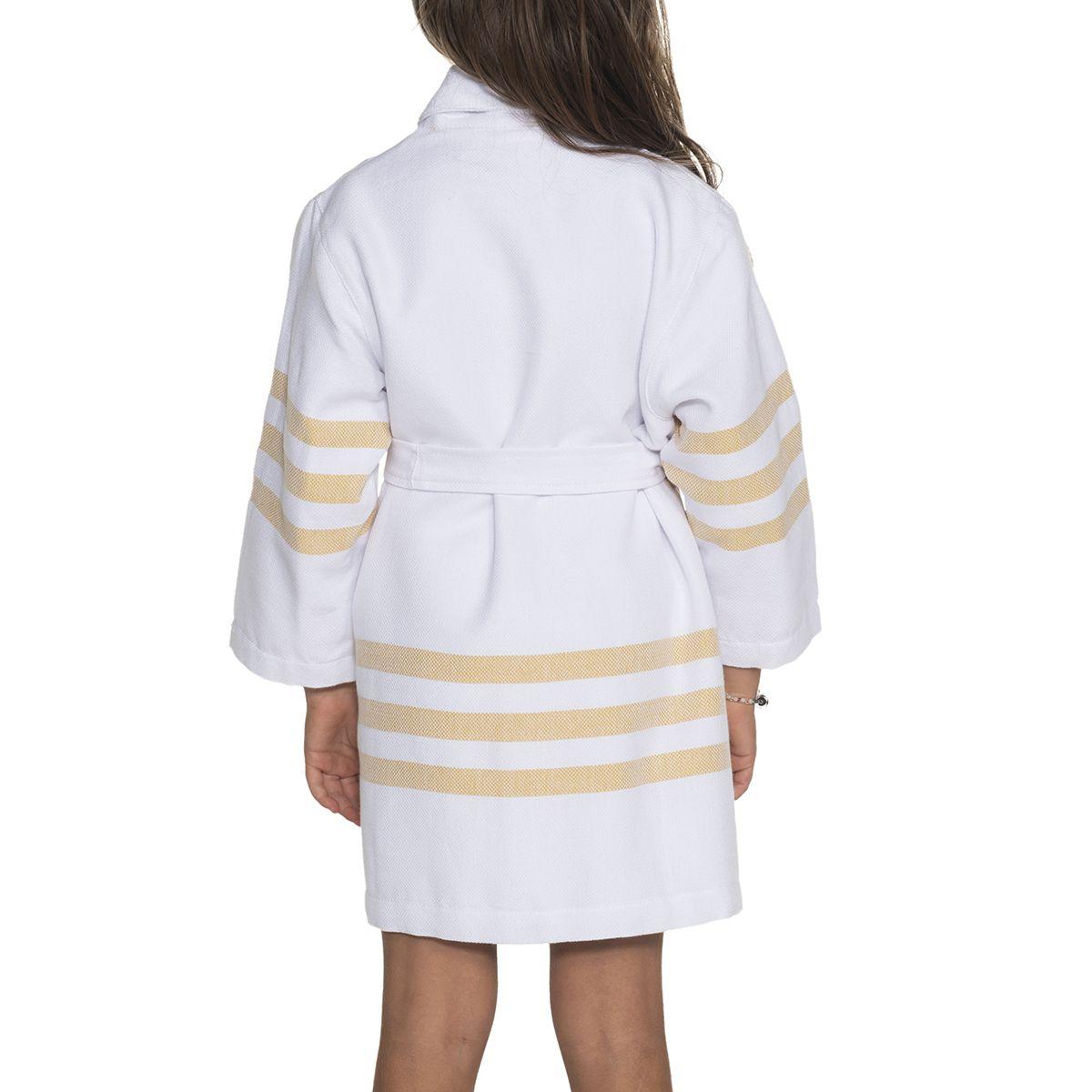 Bornoz Velet BALA Havlulu - Beyaz / Sarı