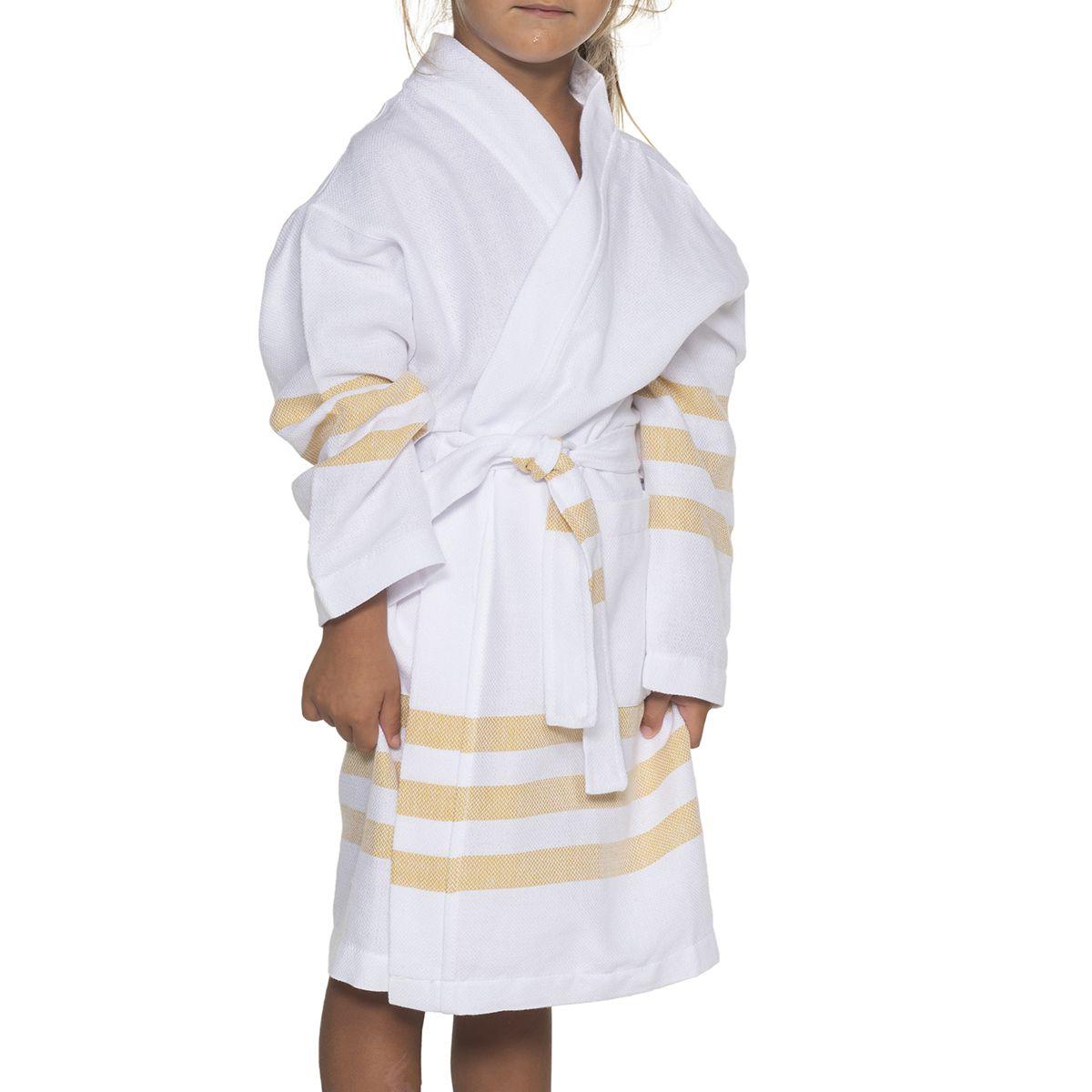Bathrobe Kiddo Bala - White / Yellow