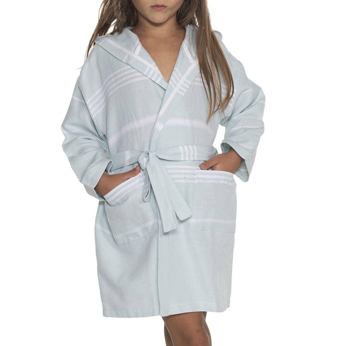 Bathrobe Kiddo Leyla with hood - Mint