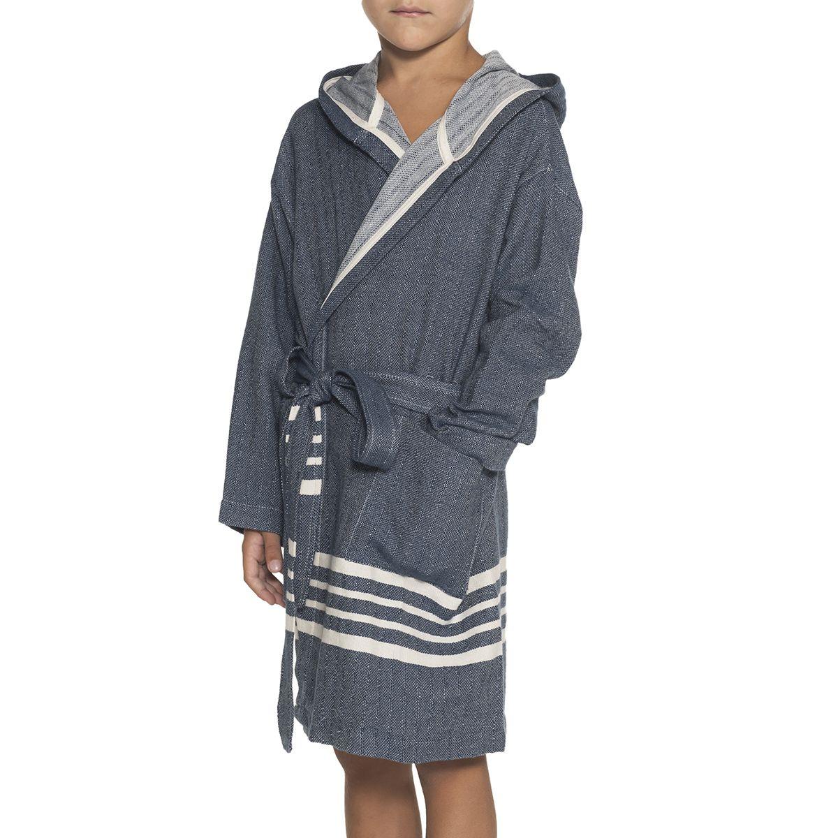 Bathrobe Kiddo with hood - Navy