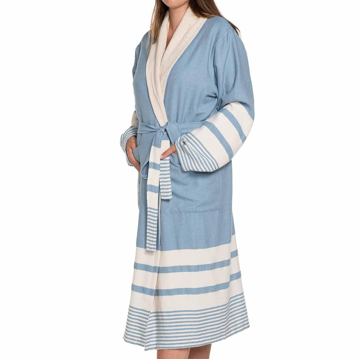 Bathrobe Tabiat with towel - Air Blue