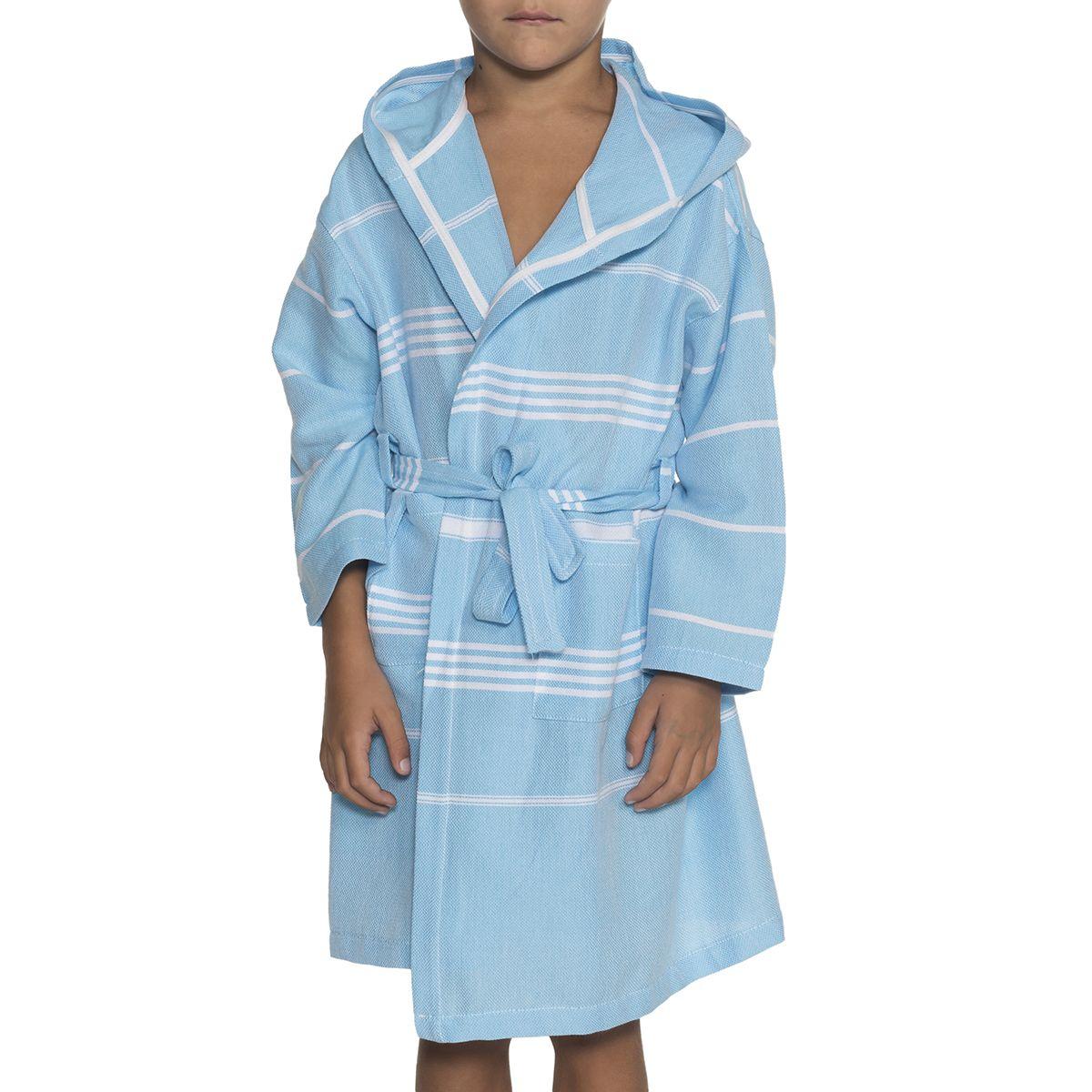 Bathrobe Kiddo Leyla with hood - Turquoise