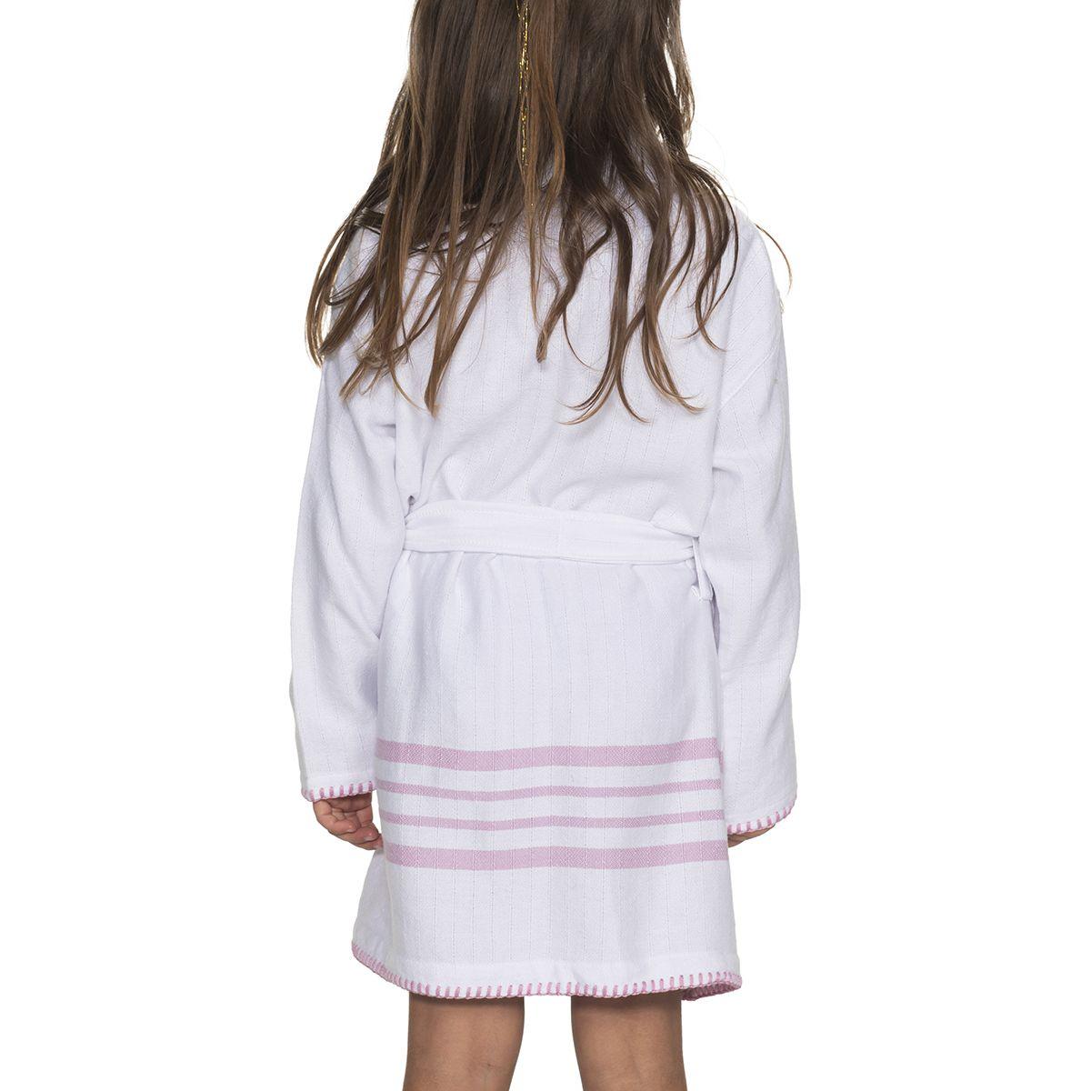 Bathrobe Kiddo Coban WS - White / Pink
