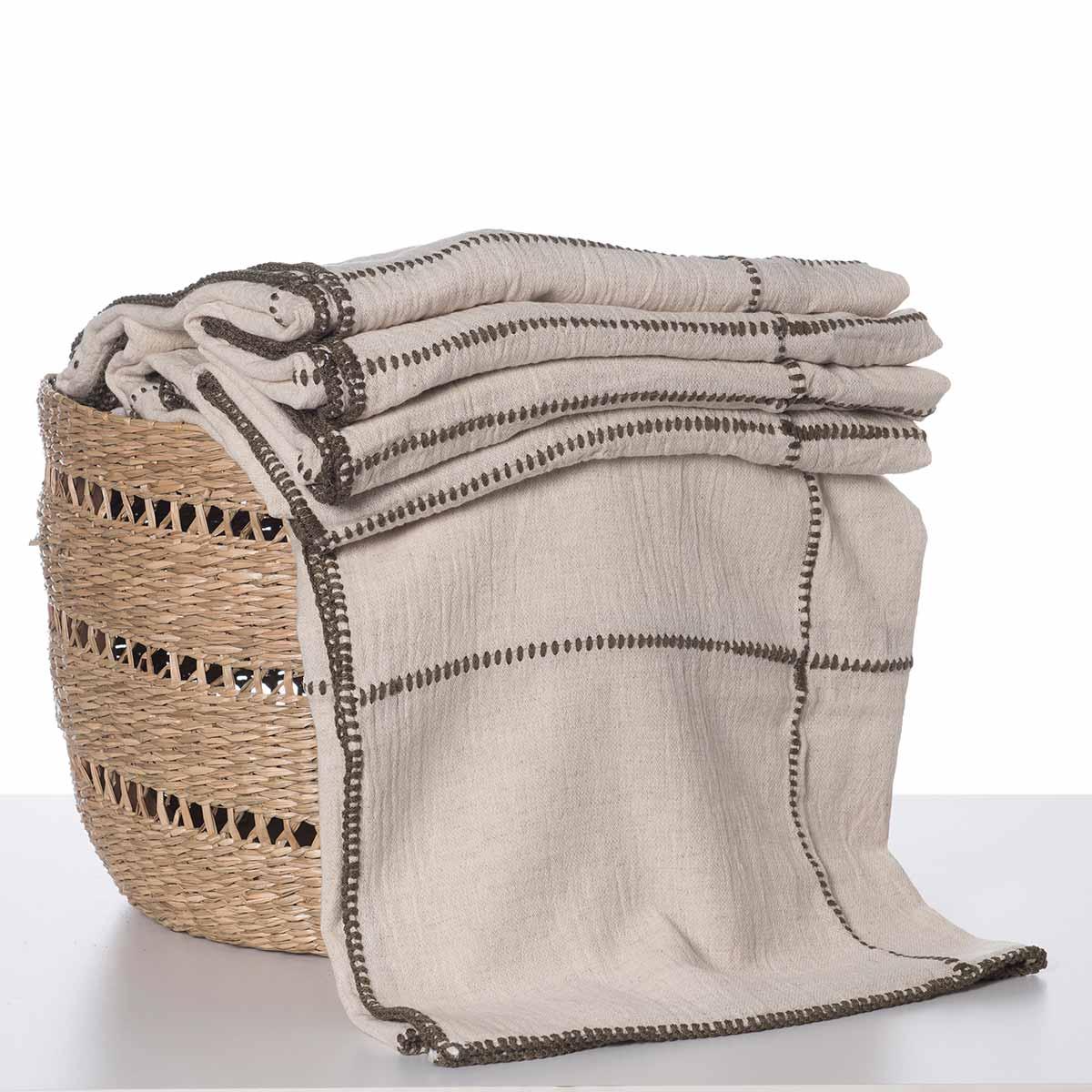 Throw - Nature / Khaki stitched (Patchwork)