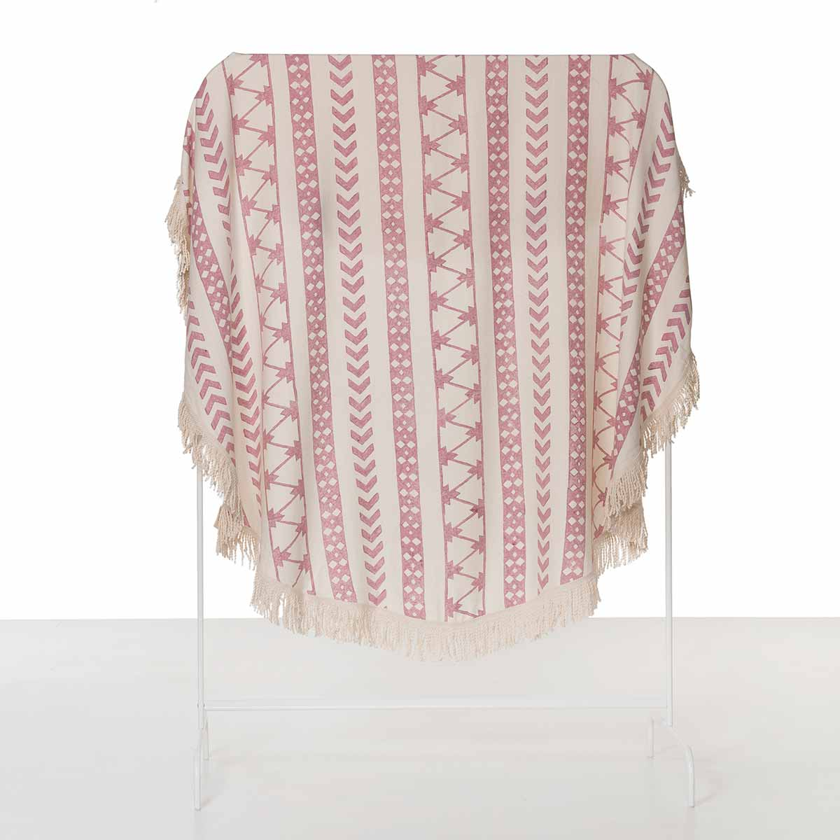 Round Towel / Cloth - Natural / Hand Printed 06 - Dusty Rose